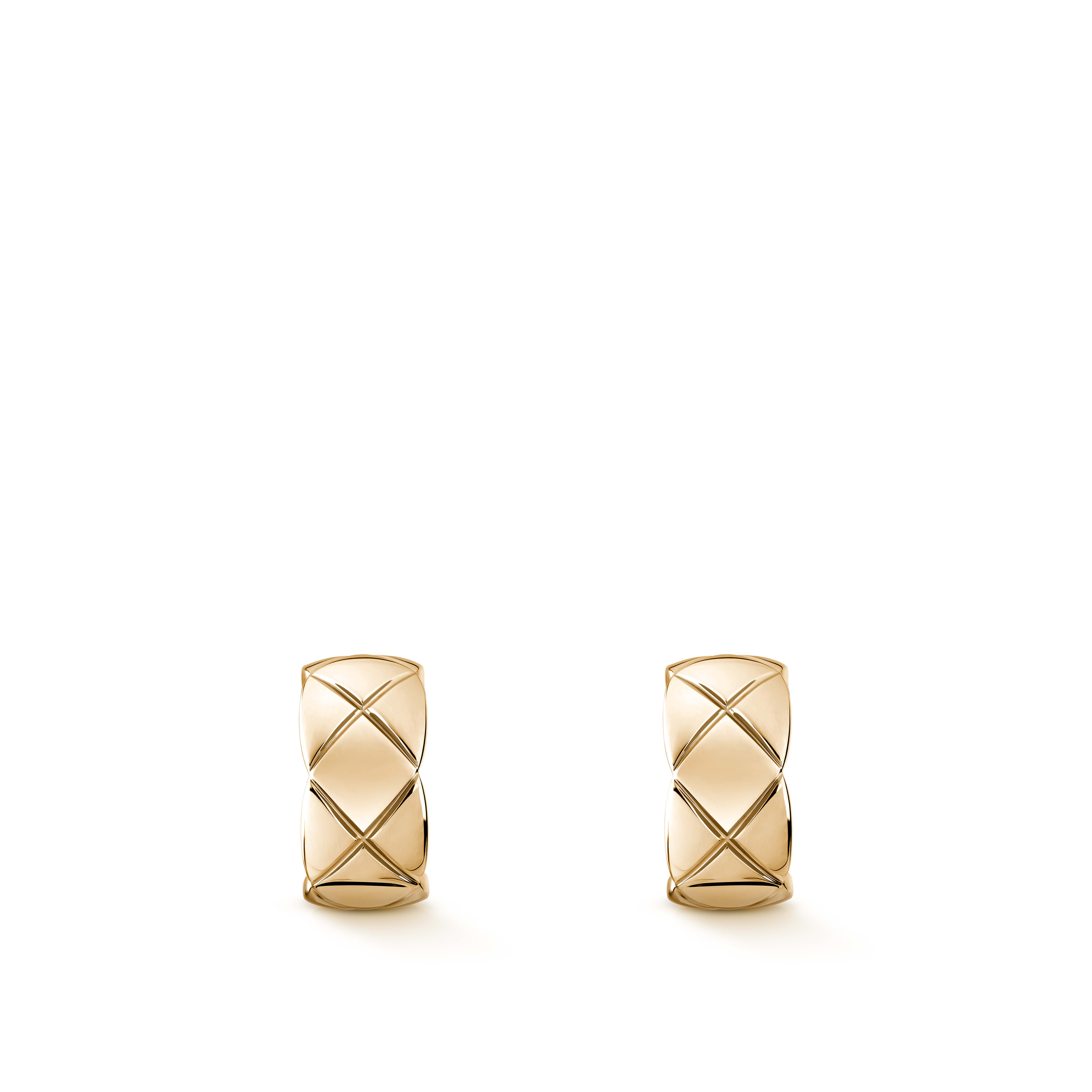 Coco Crush earrings - Quilted motif, 18K BEIGE GOLD - CHANEL - Default view - see standard sized version