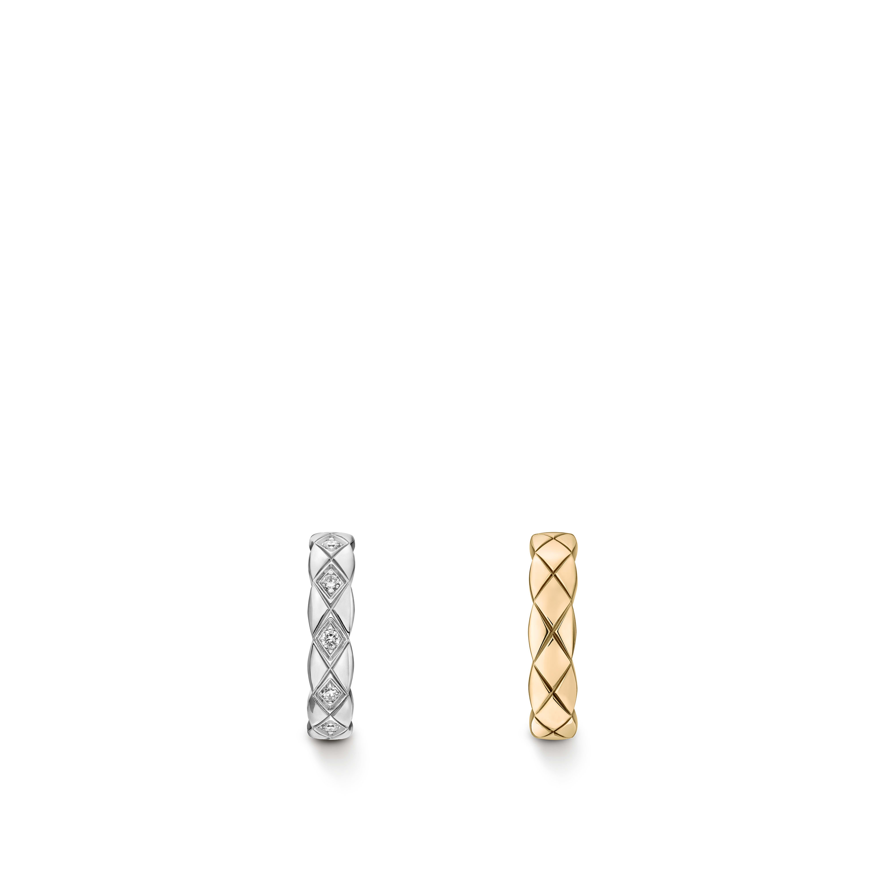 Coco Crush earrings - Quilted motif, 18K white and BEIGE GOLD, diamonds - CHANEL - Default view - see standard sized version