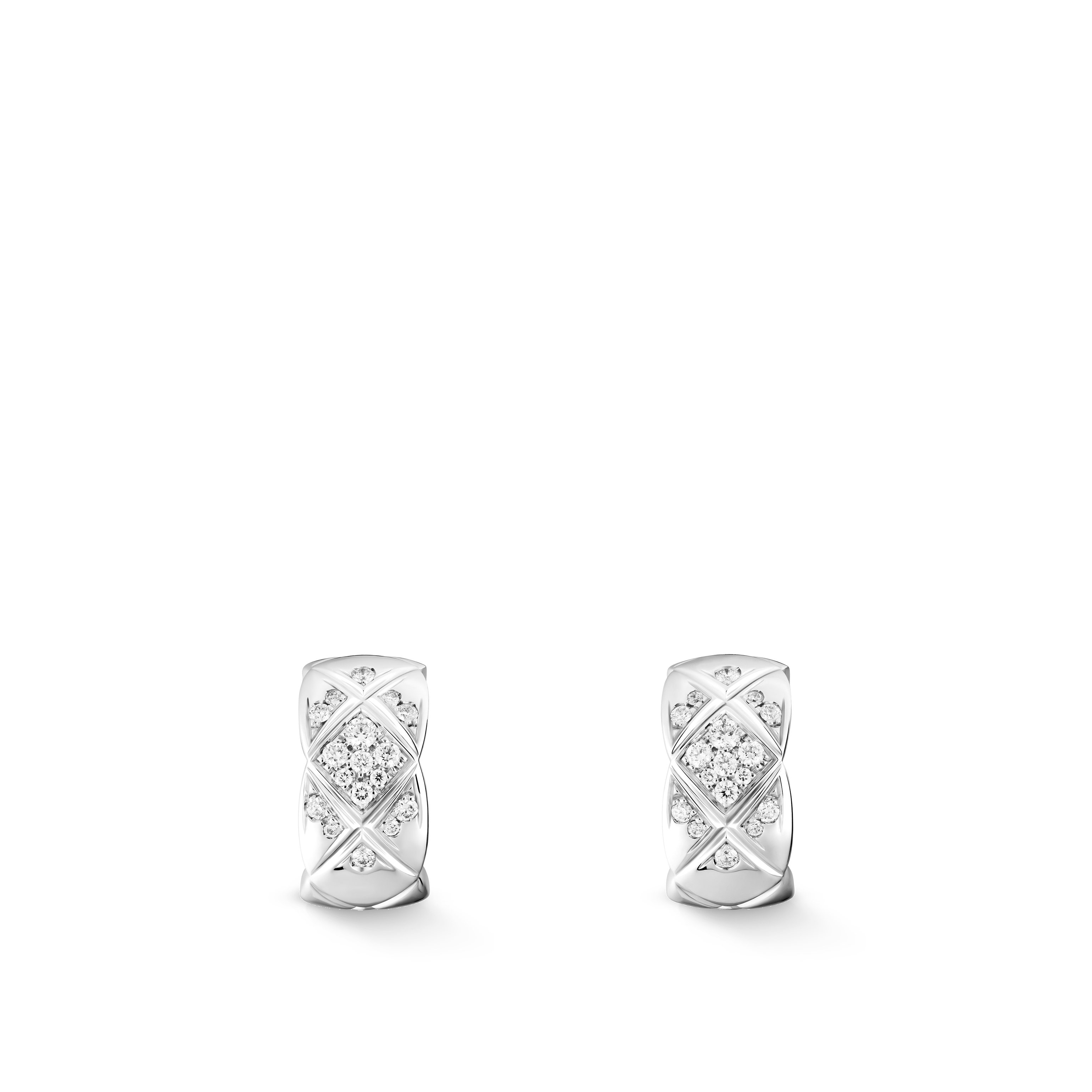 Coco Crush earrings - Quilted motif, 18K white gold, diamonds - CHANEL - Default view - see standard sized version