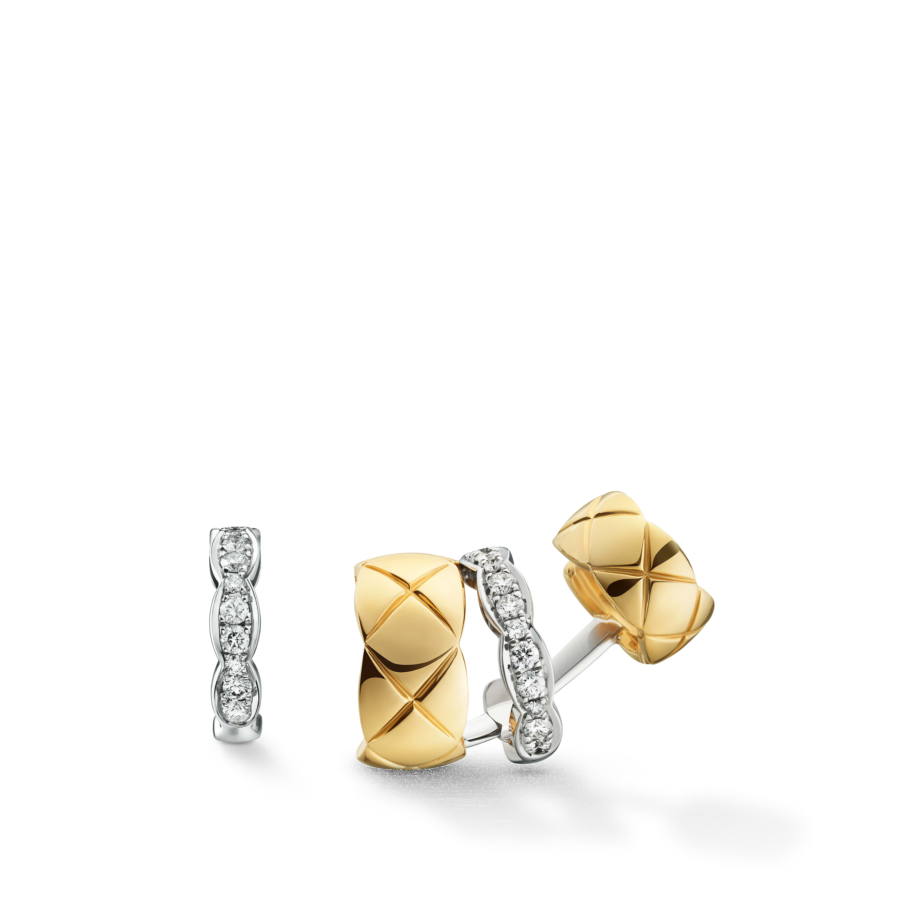 Coco Crush earrings - Quilted motif, 18K white and yellow gold, diamonds - CHANEL - Default view - see standard sized version