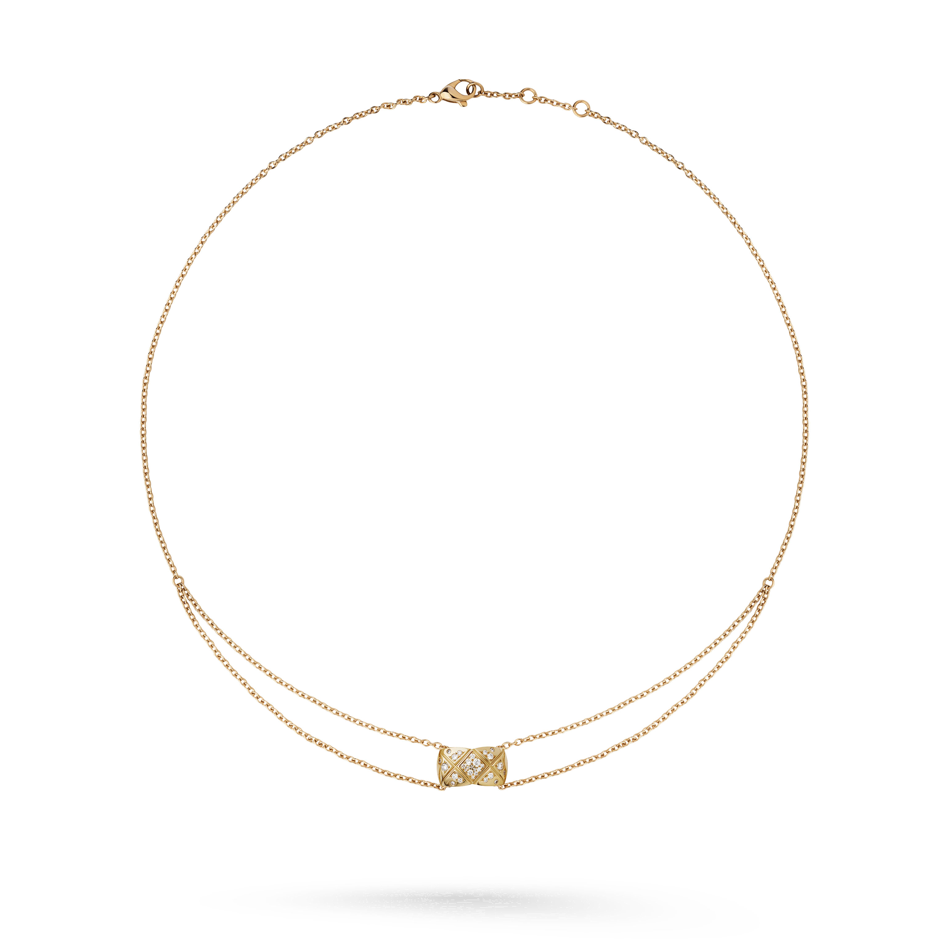 Coco Crush necklace - Quilted motif, 18K BEIGE GOLD, diamonds - CHANEL - Default view - see standard sized version