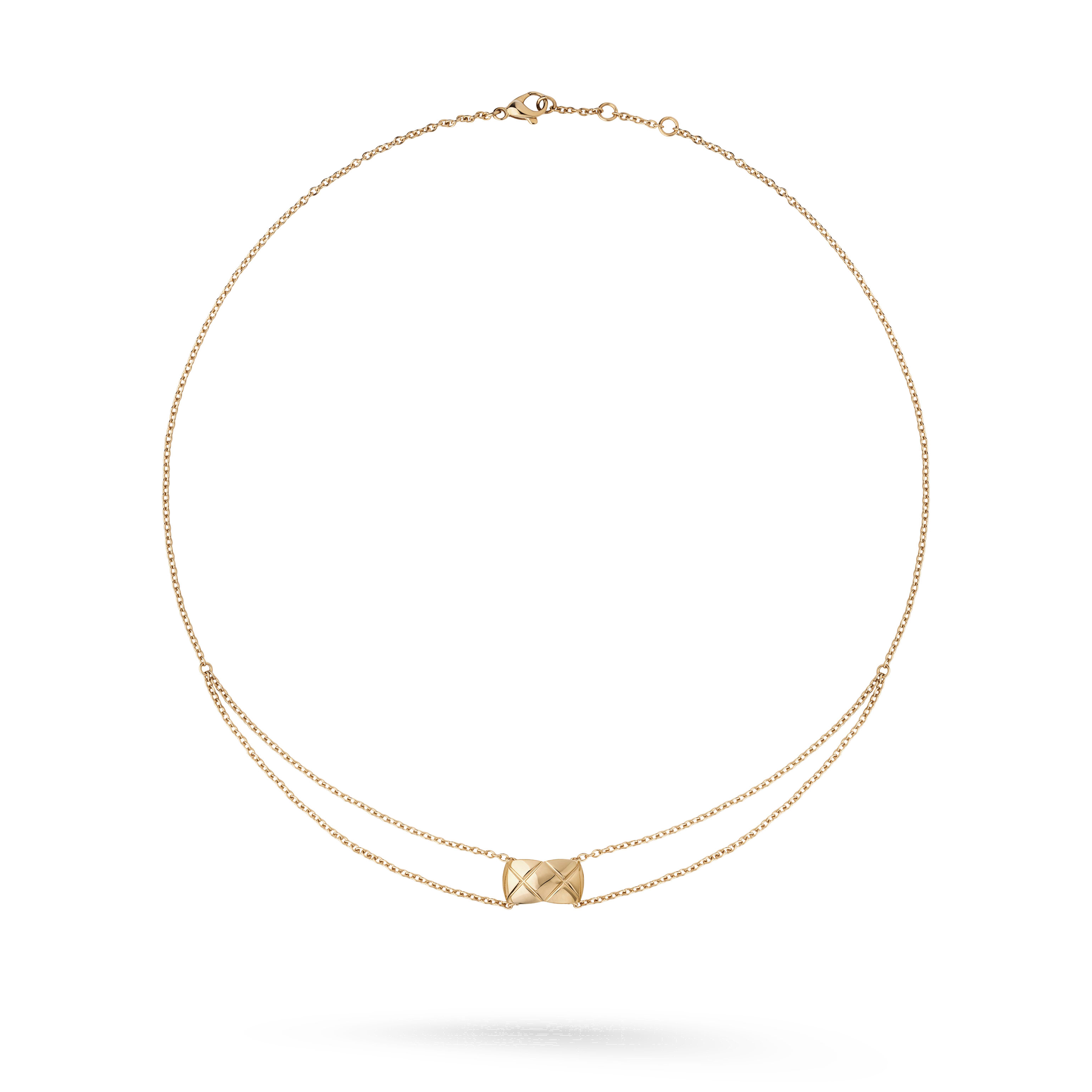 Coco Crush necklace - Quilted motif, 18K BEIGE GOLD - CHANEL - Default view - see standard sized version