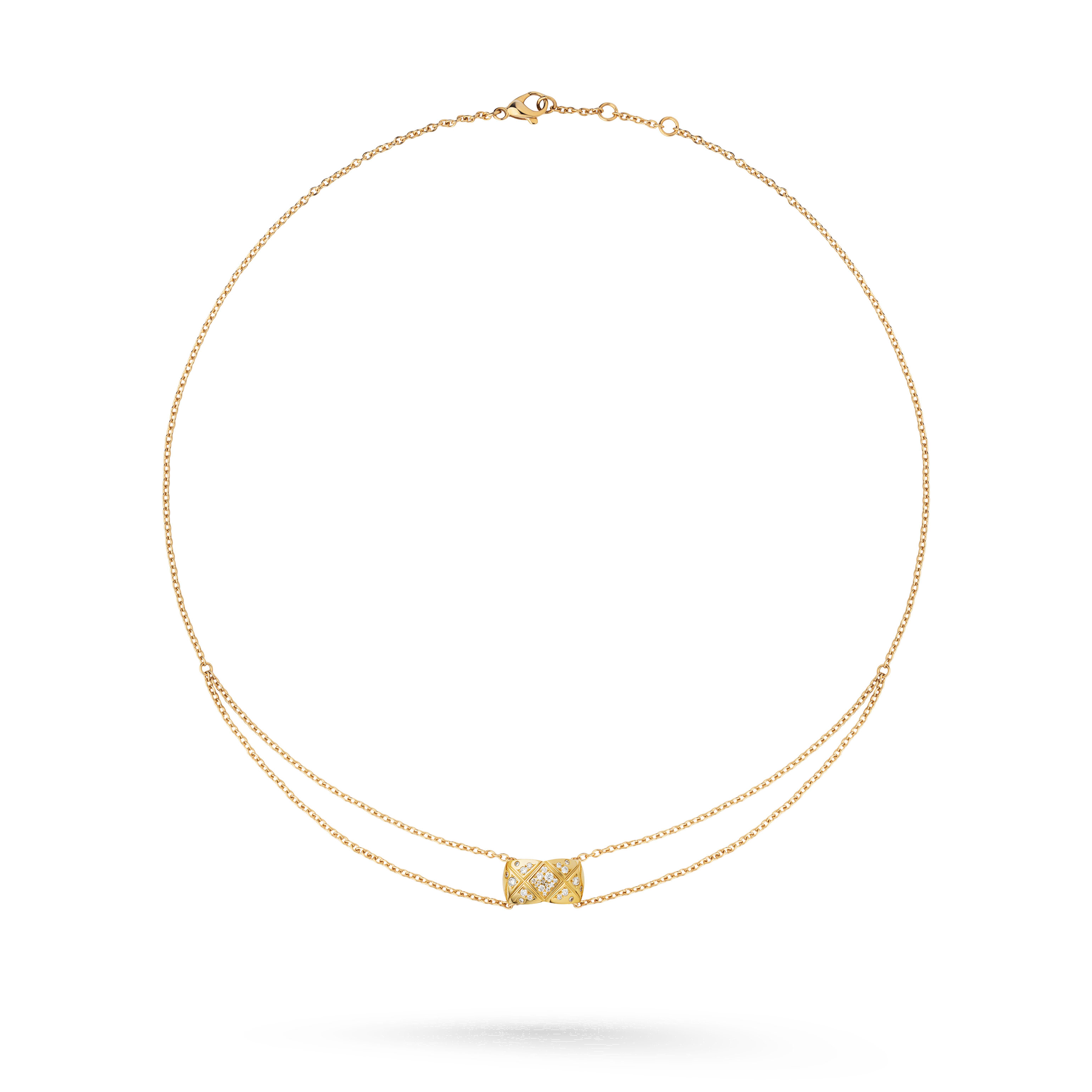 Coco Crush necklace - Quilted motif, 18K yellow gold, diamonds - CHANEL - Default view - see standard sized version