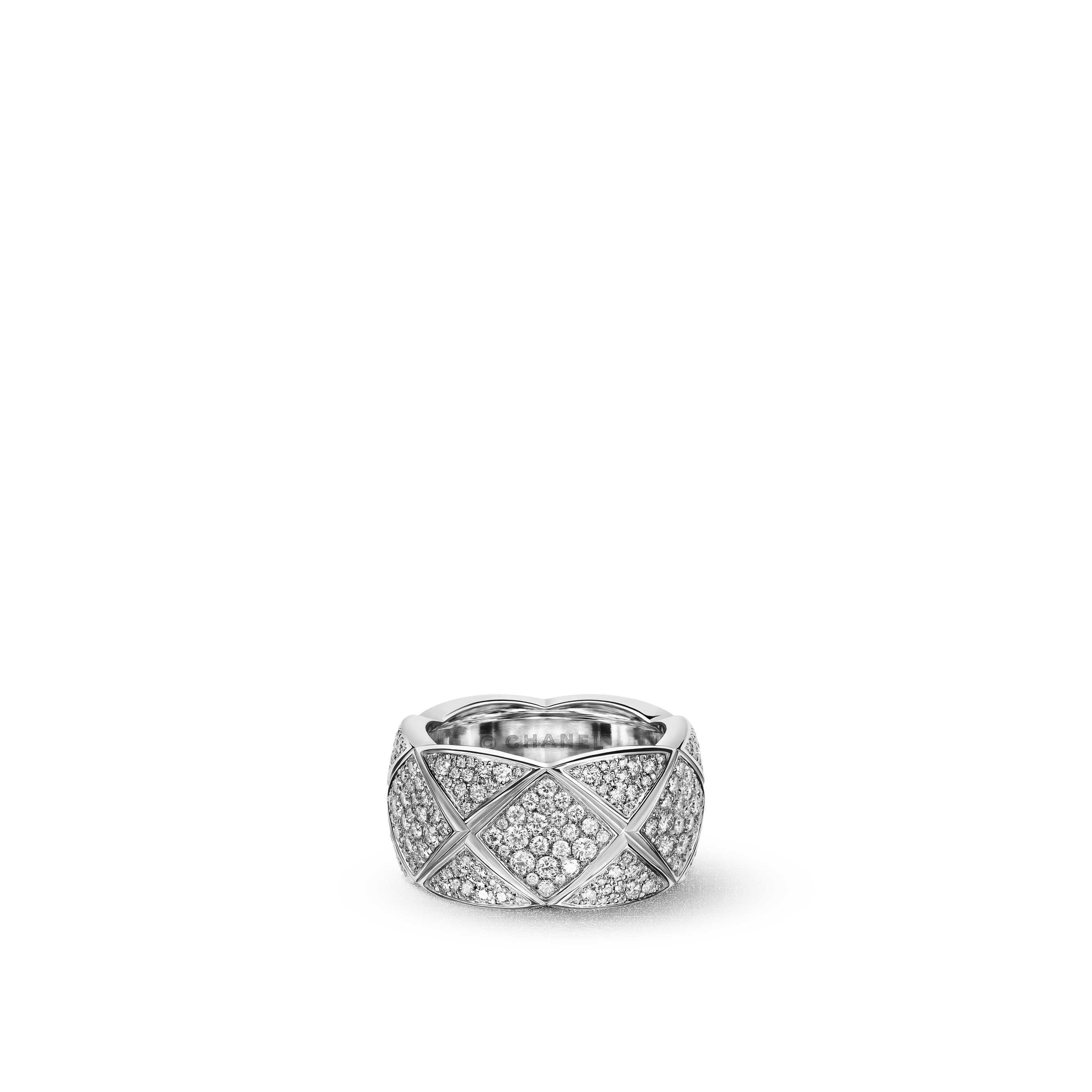 Coco Crush Ring - Quilted motif ring in 18K white gold fully paved with diamonds. Large version. - Default view - see standard sized version