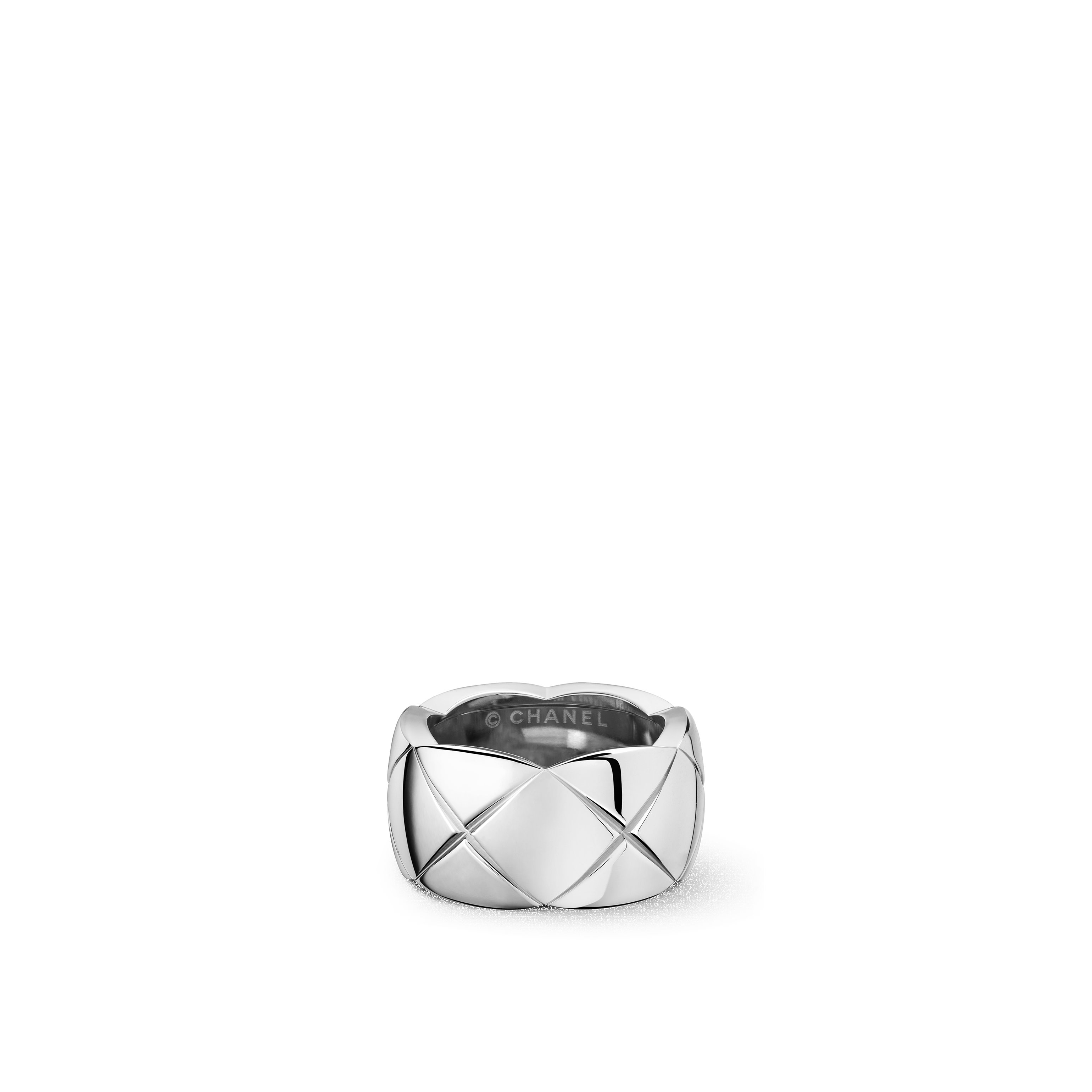 Coco Crush Ring - Quilted motif ring in 18K white gold. Large version. - Default view - see standard sized version