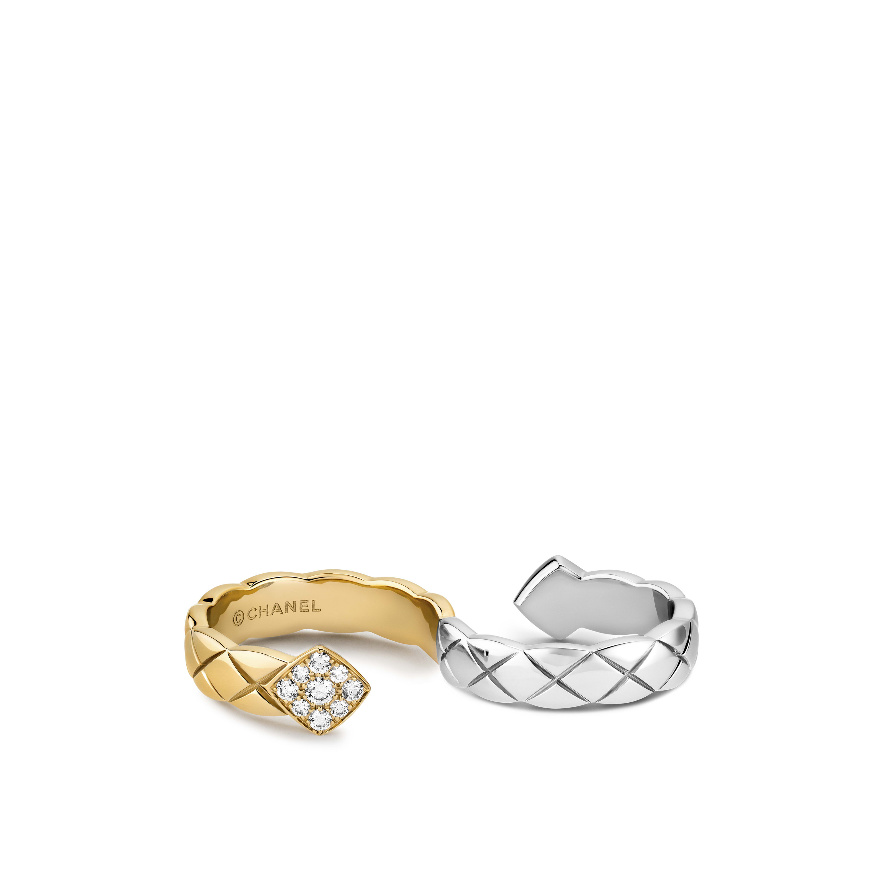 Coco Crush ring - Quilted motif two-finger ring in 18K white and yellow gold and diamonds - Default view - see standard sized version