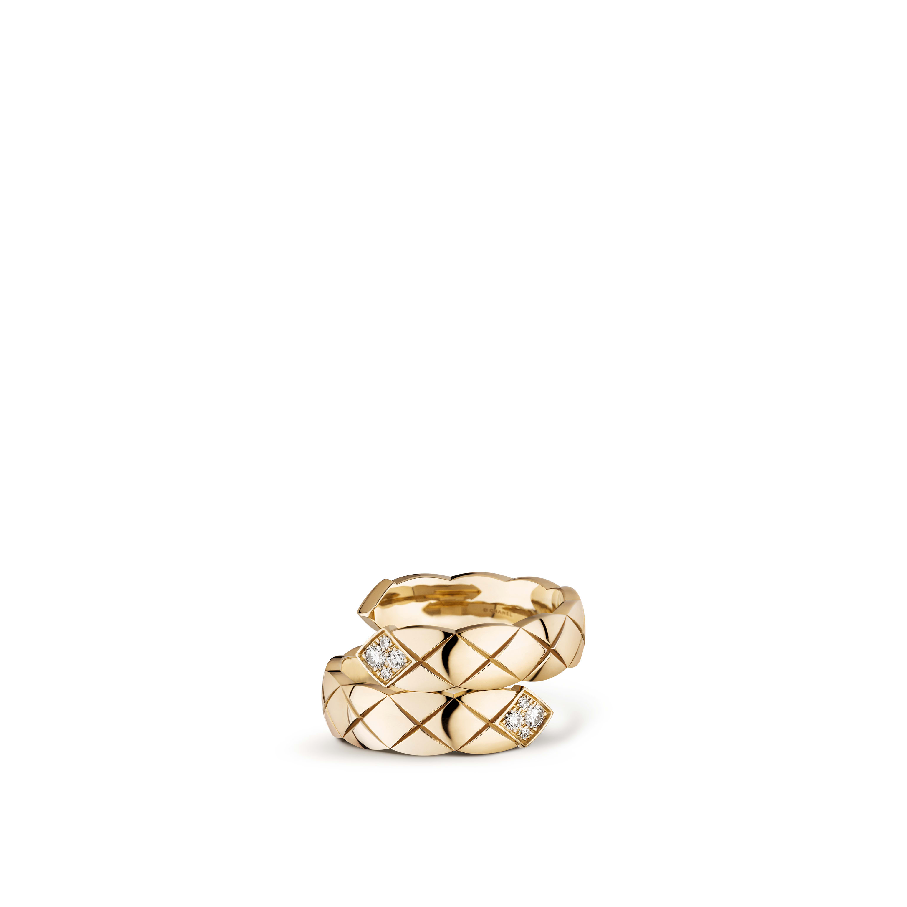 Coco Crush Toi et Moi ring - Quilted motif, large version, 18K BEIGE GOLD, diamonds - CHANEL - Default view - see standard sized version