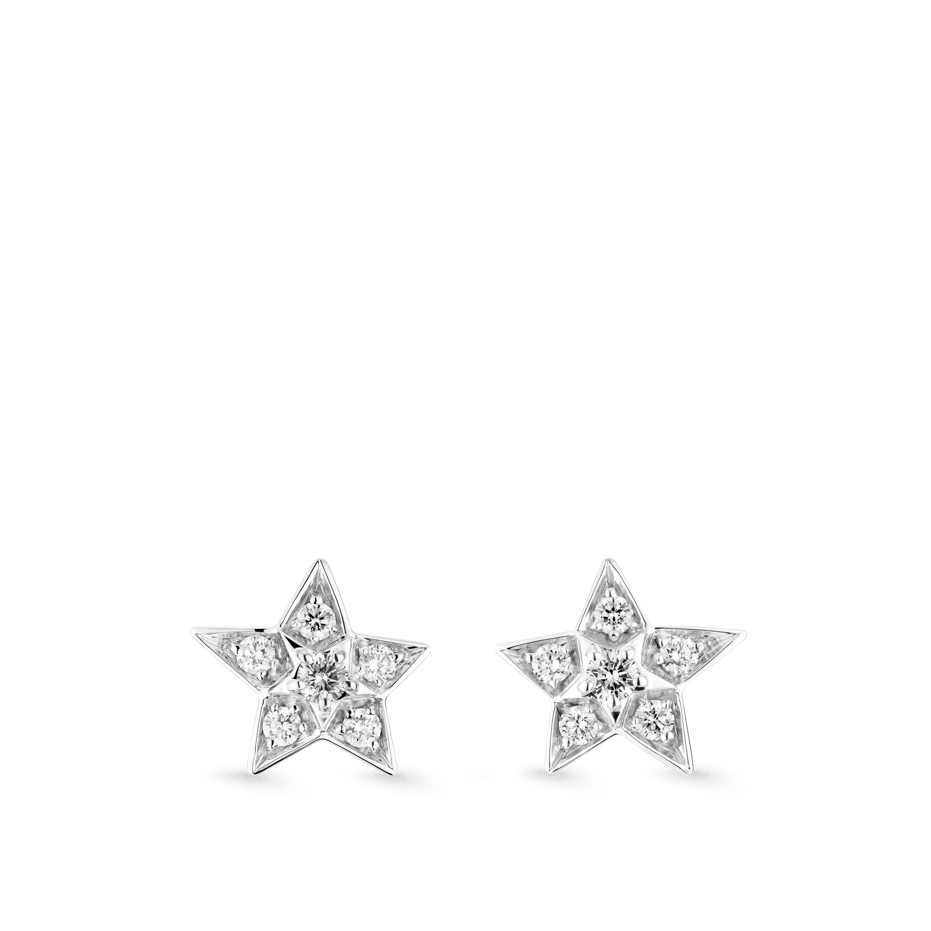 Comète Earrings - Star earrings in 18K white gold and diamonds. Small version. - Default view - see standard sized version