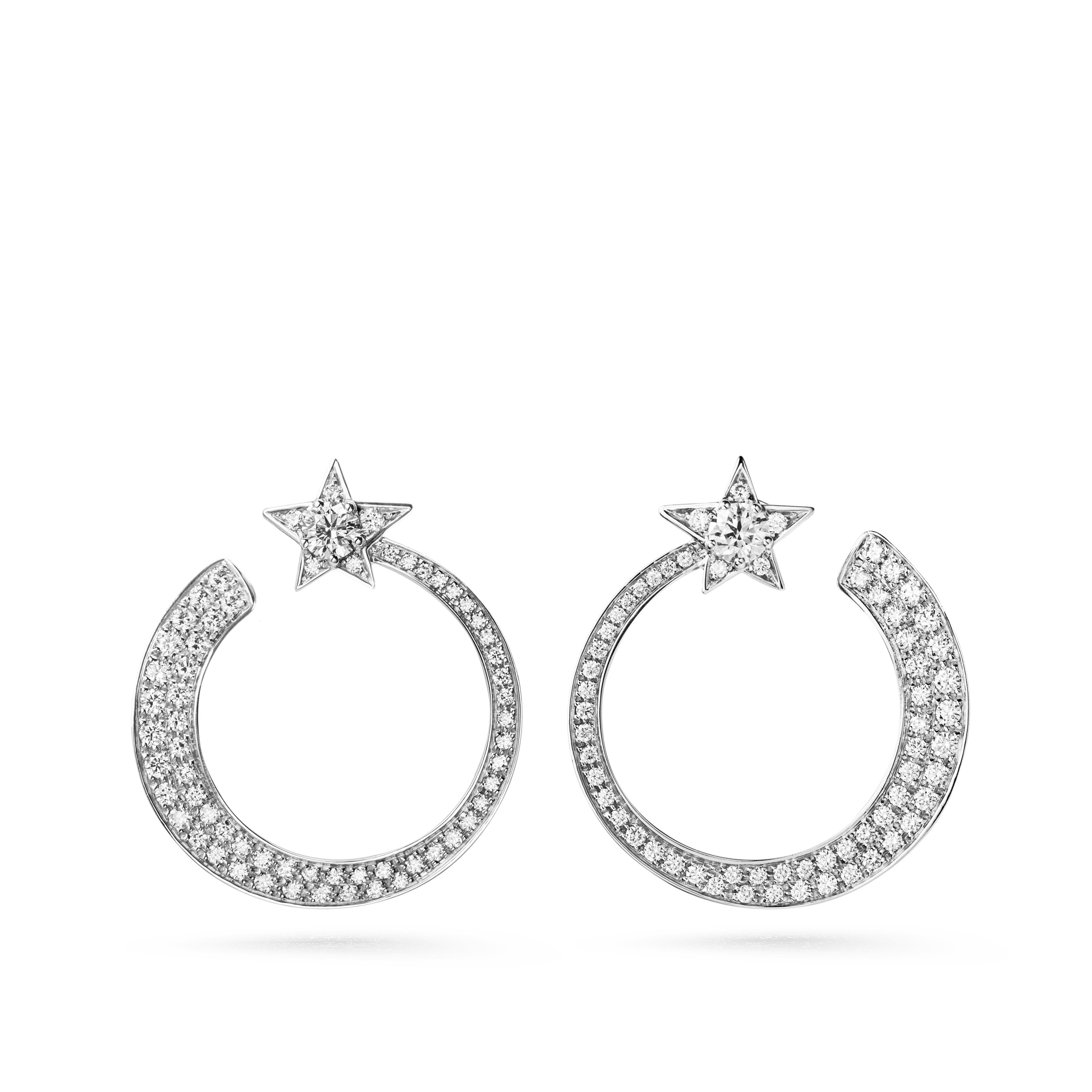 Comète Earrings - Star hoop earrings in 18K white gold and diamonds - Default view - see standard sized version