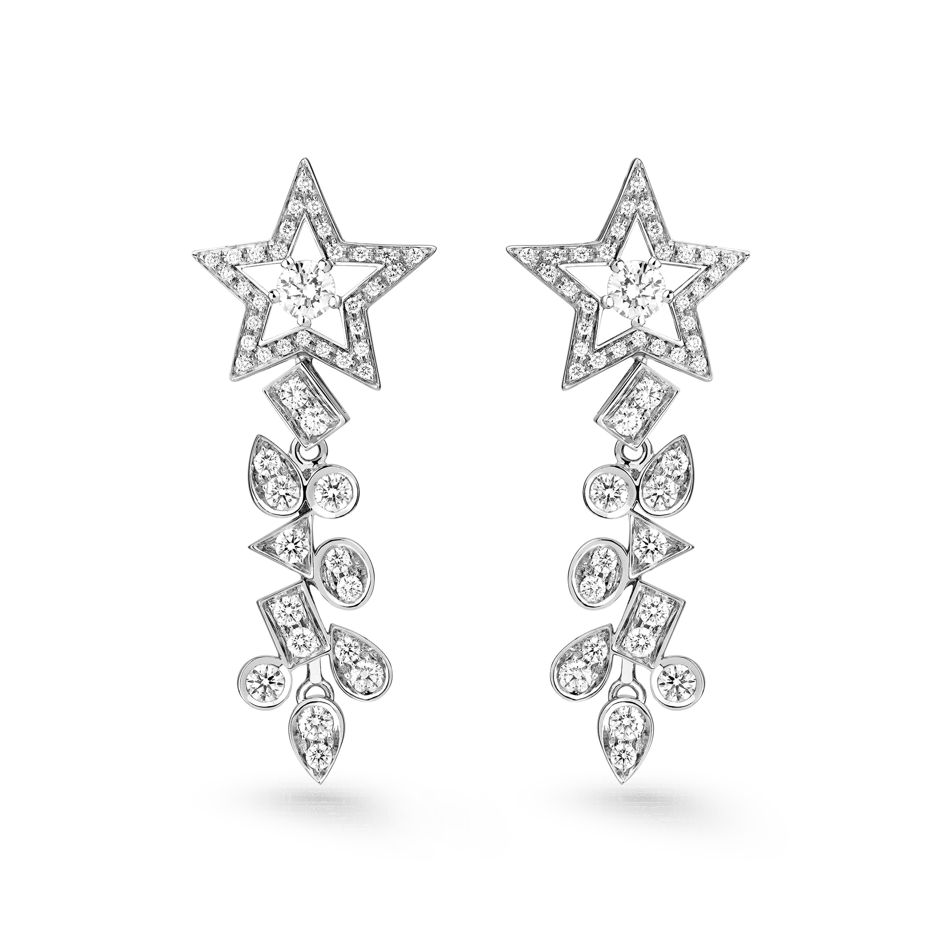 Comète Earrings - Star dangling earrings in 18K white gold, diamonds and central diamonds - Default view - see standard sized version