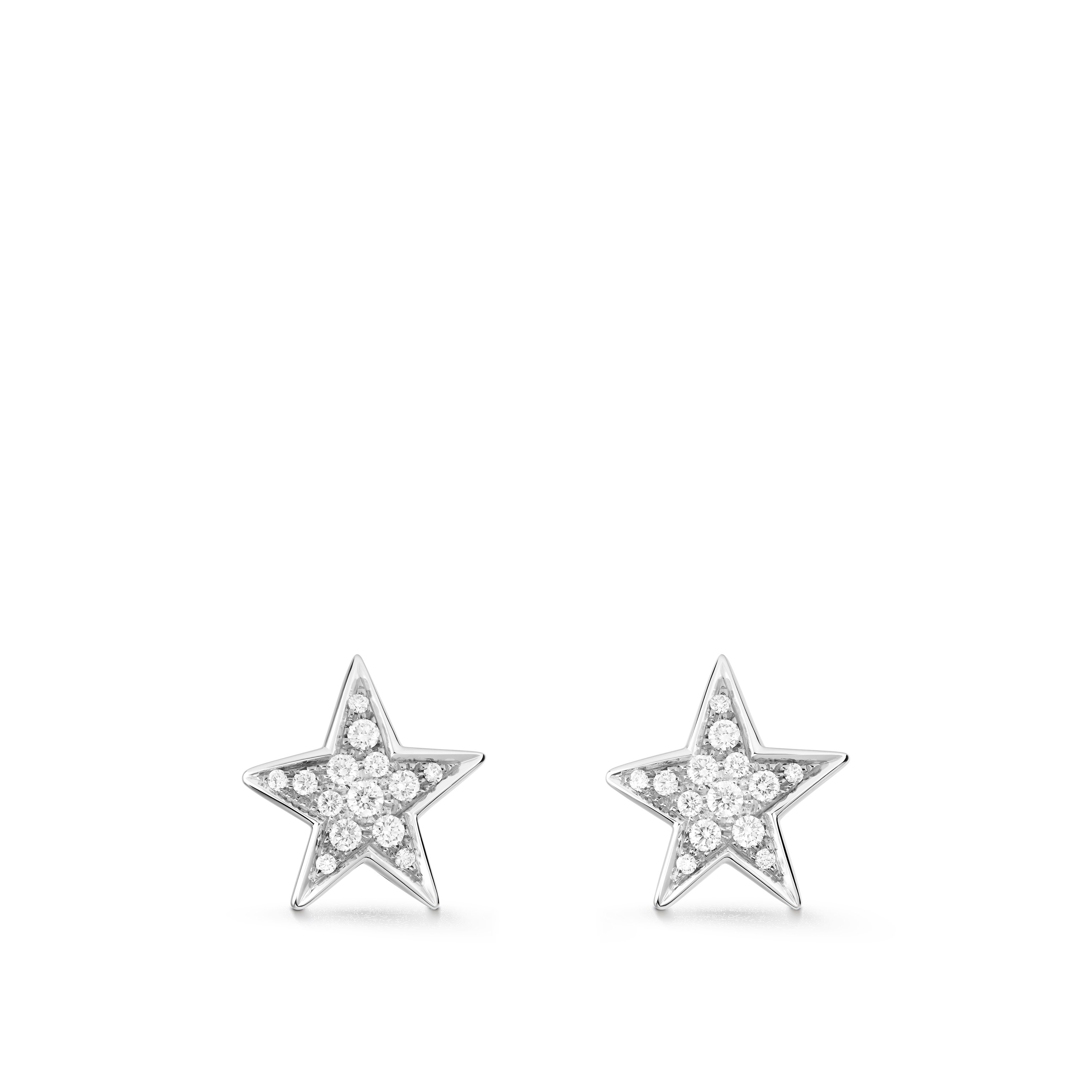 Comète Earrings - Star earrings, in 18K white gold and diamonds. Medium version. - Default view - see standard sized version