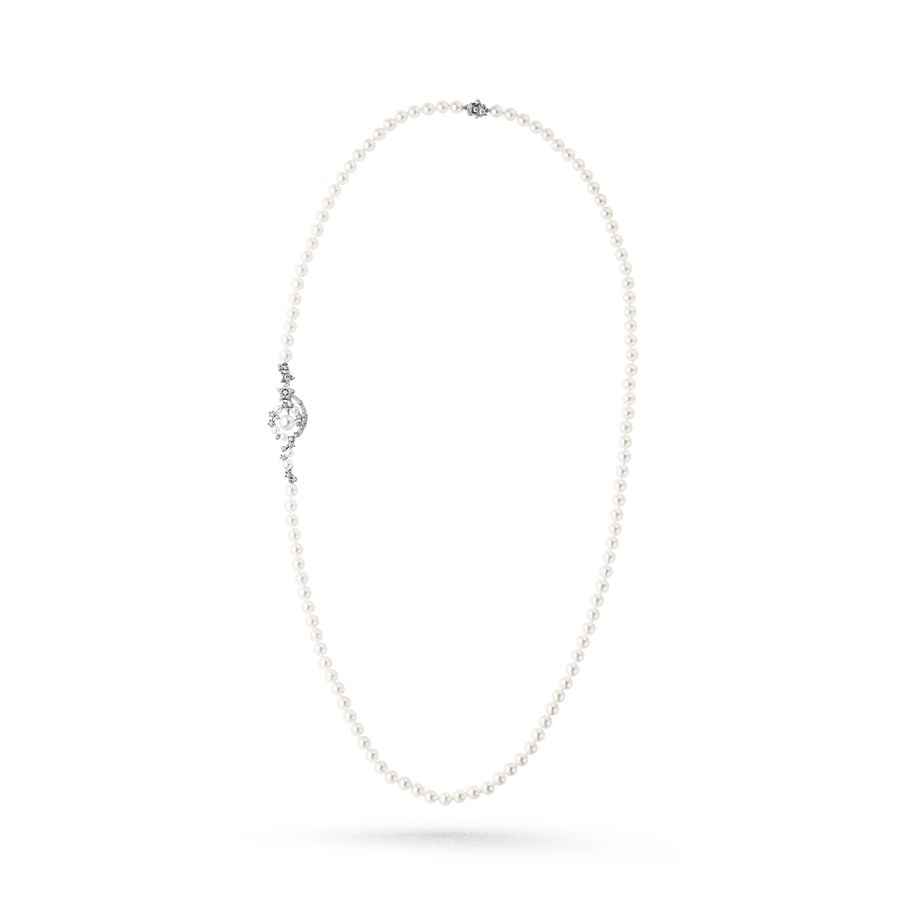 Comète Perlée long necklace - 18K white gold, diamonds, cultured pearls - CHANEL - Default view - see standard sized version