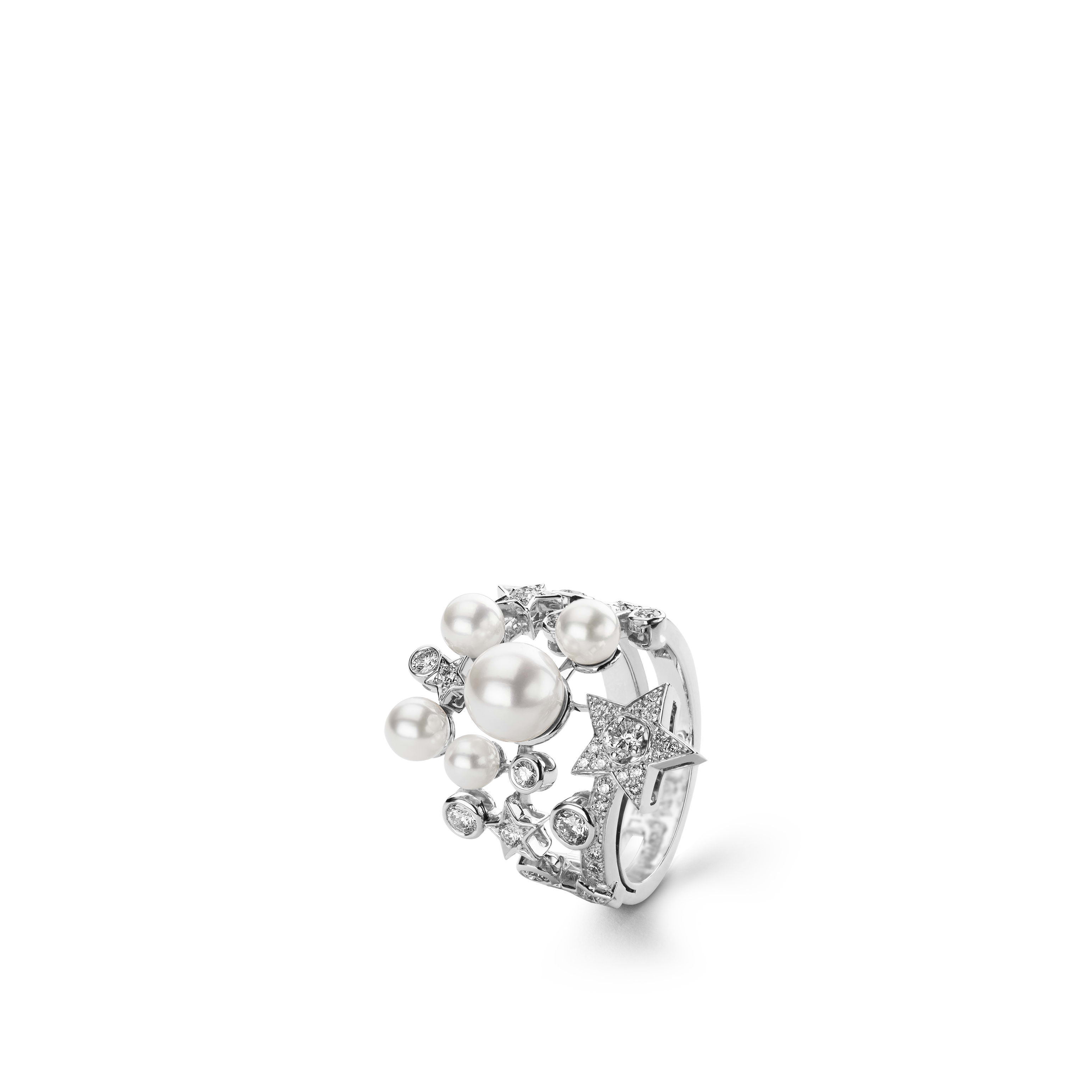 Comète Ring - Star ring in 18K white gold, diamonds and cultured pearls - Default view - see standard sized version