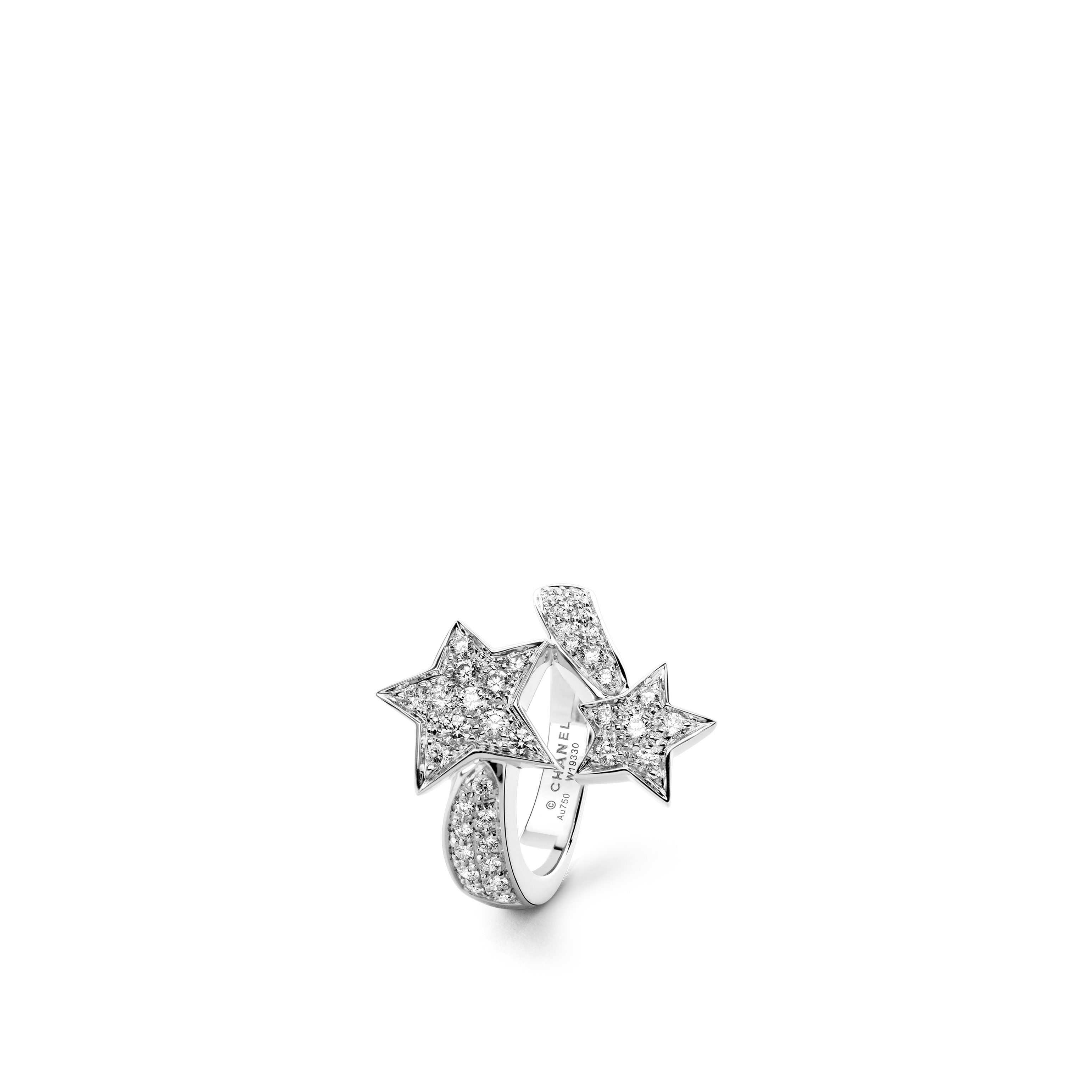 Comète Ring - Two star ring in 18K white gold and diamonds - Default view - see standard sized version