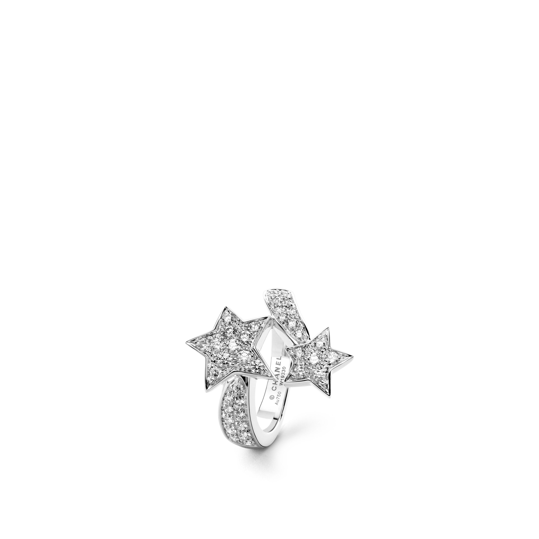 Comète Ring - Motiv zwei Sterne aus 18 Karat Weißgold und Diamanten - Standardansicht - Standardgröße anzeigen