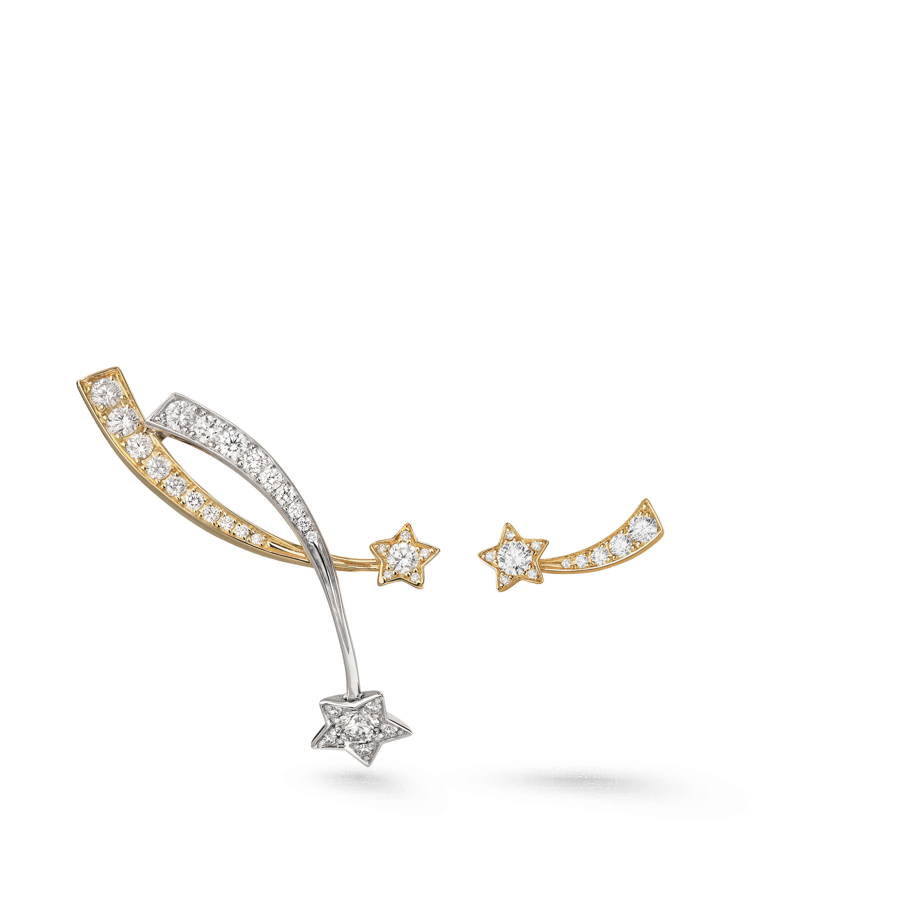 Étoile Filante earrings - 18K white and yellow gold, diamonds - CHANEL - Default view - see standard sized version