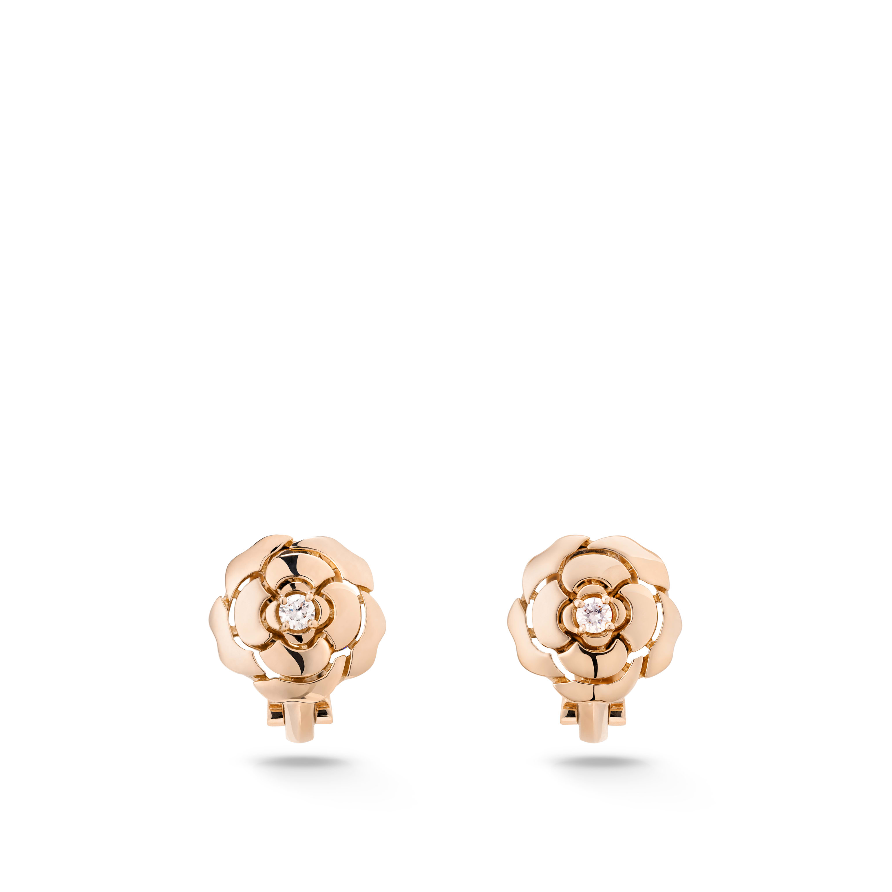 Extrait de Camélia earrings - 18K pink gold, diamonds - CHANEL - Default view - see standard sized version