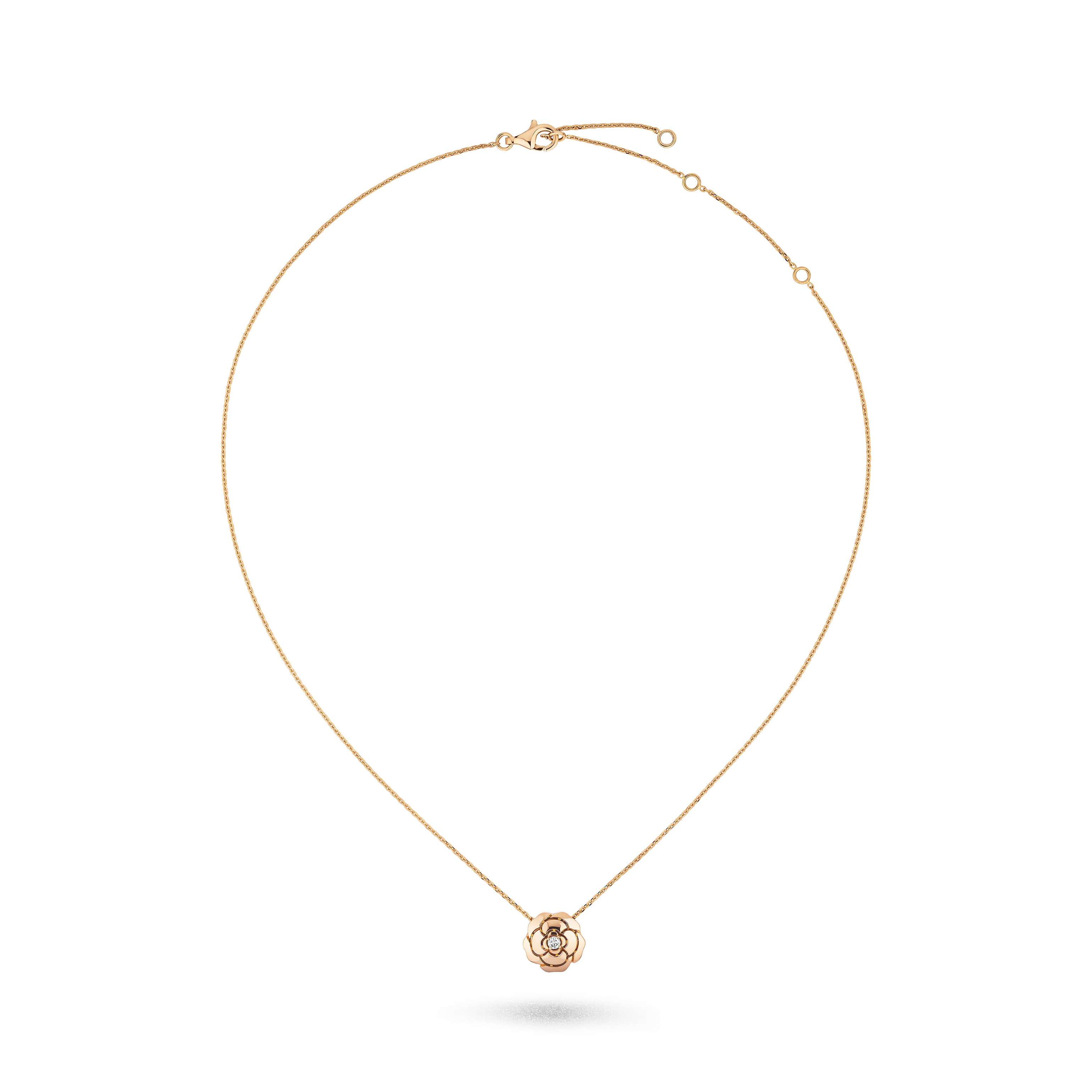 Extrait de Camélia necklace - 18K pink gold, diamond - CHANEL - Default view - see standard sized version