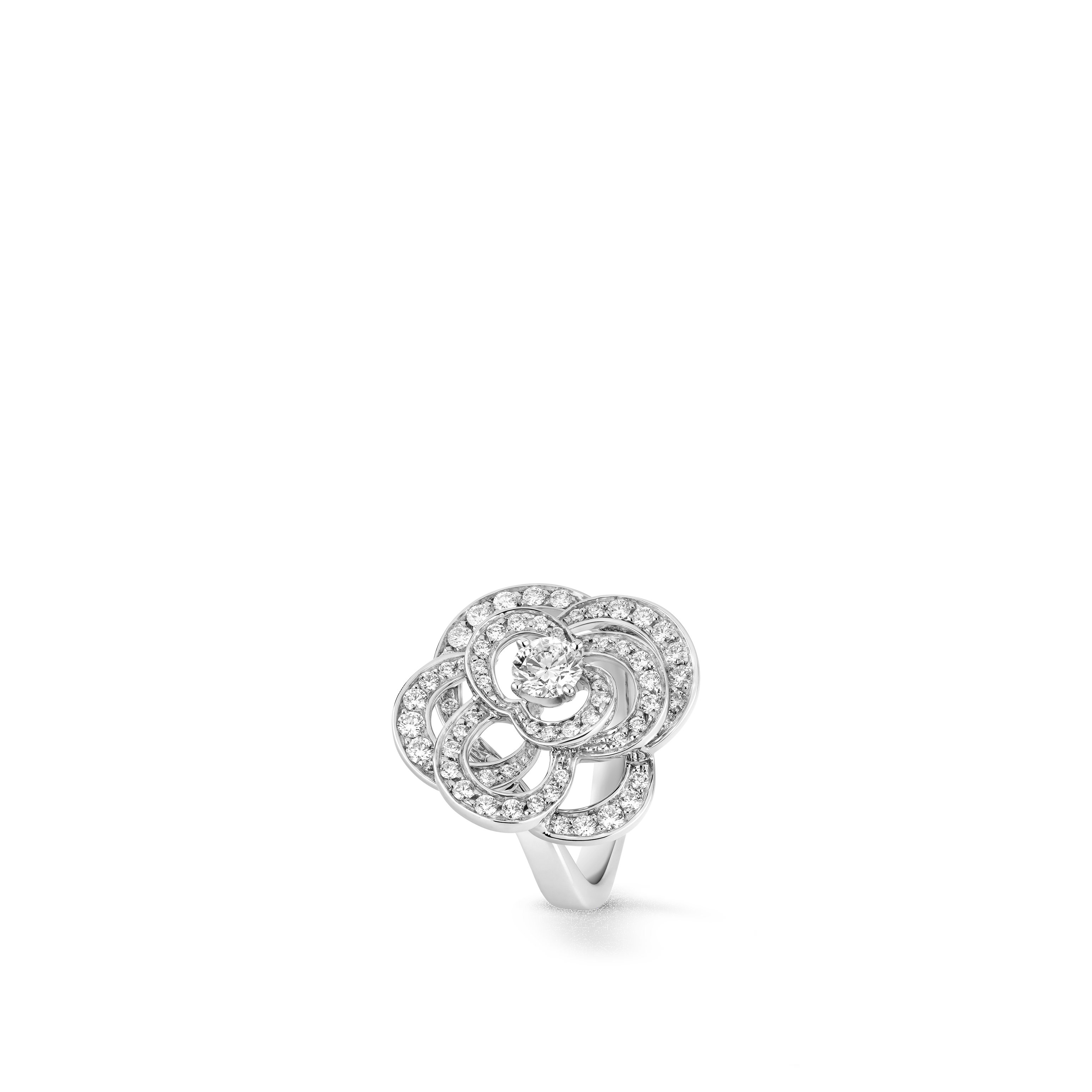 Fil de Camélia ring - Large version, 18K white gold, diamonds - CHANEL - Default view - see standard sized version