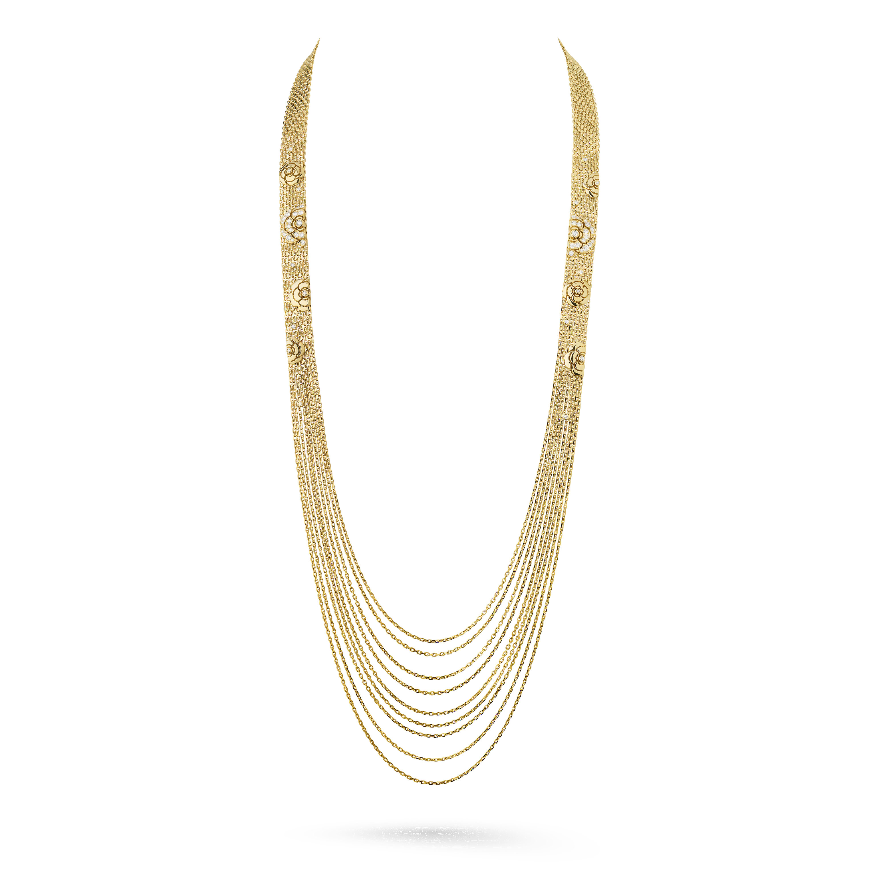 Impression de Camélia long necklace - 18K yellow gold, diamonds - CHANEL - Default view - see standard sized version