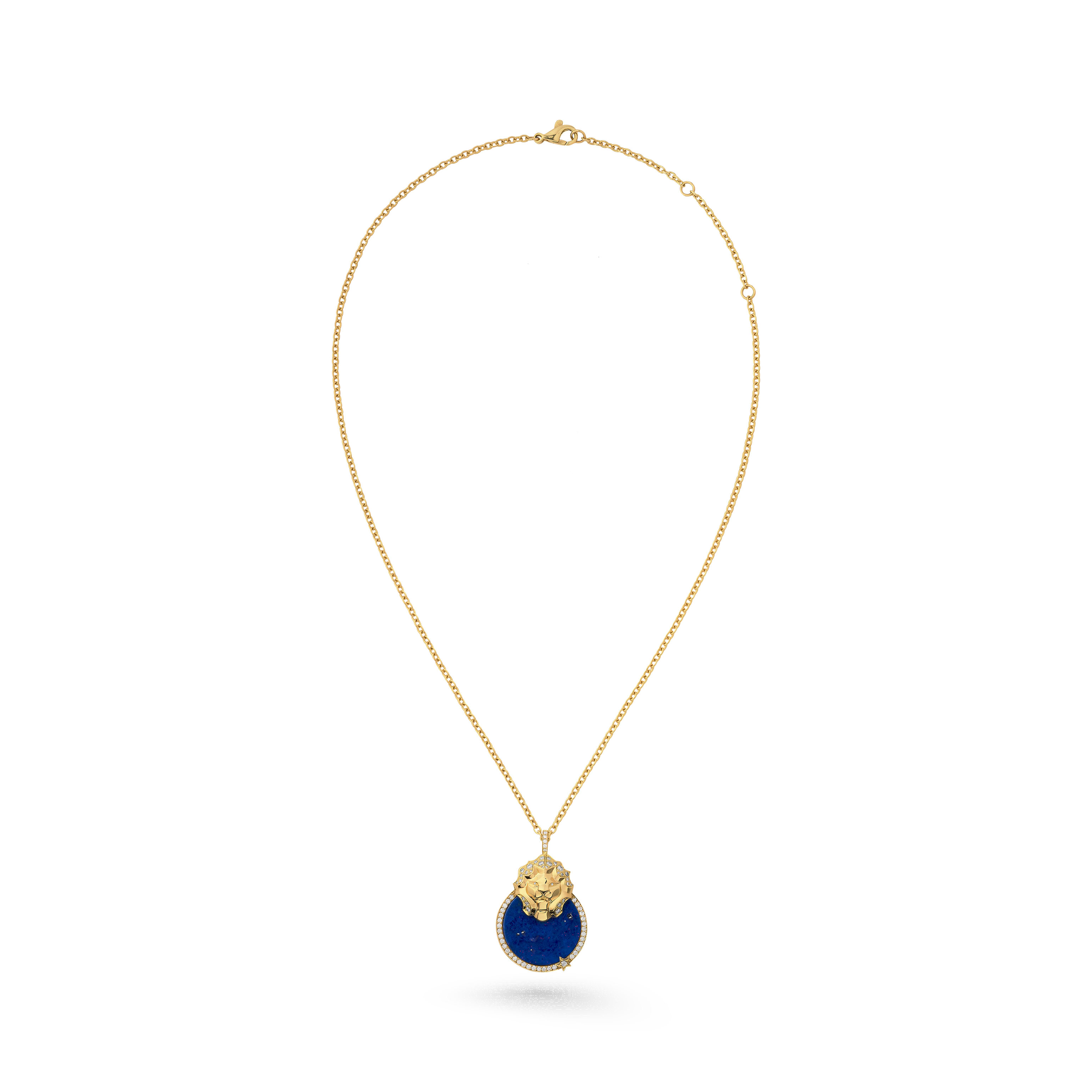 Lion Médaille necklace - 18K yellow gold, diamonds, lapis lazuli - CHANEL - Default view - see standard sized version