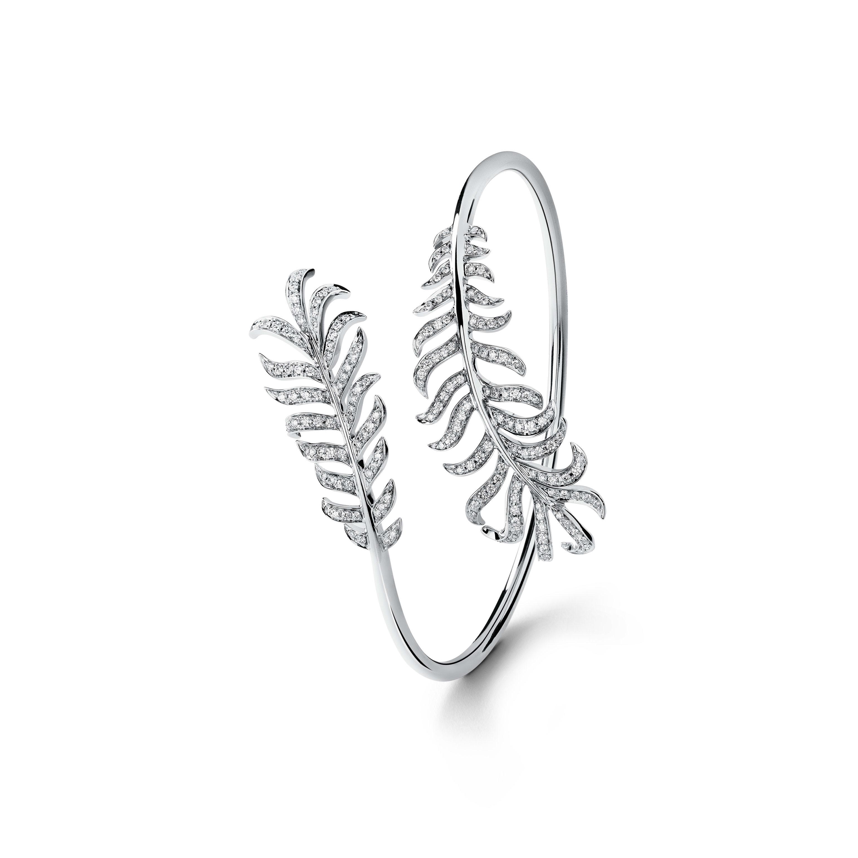 Plume de CHANEL Bracelet - Double Plume bracelet in 18K white gold and diamonds - Default view - see standard sized version
