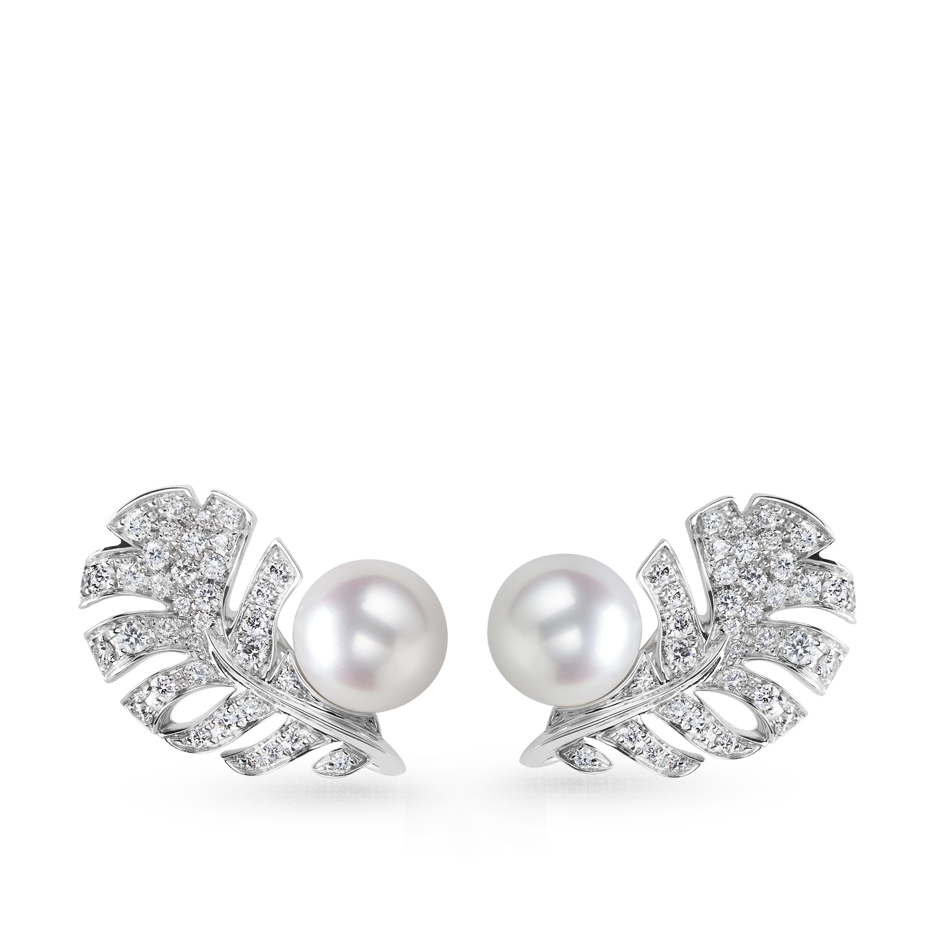 Plume de CHANEL earrings - 18K white gold, diamonds, cultured pearls - CHANEL - Default view - see standard sized version