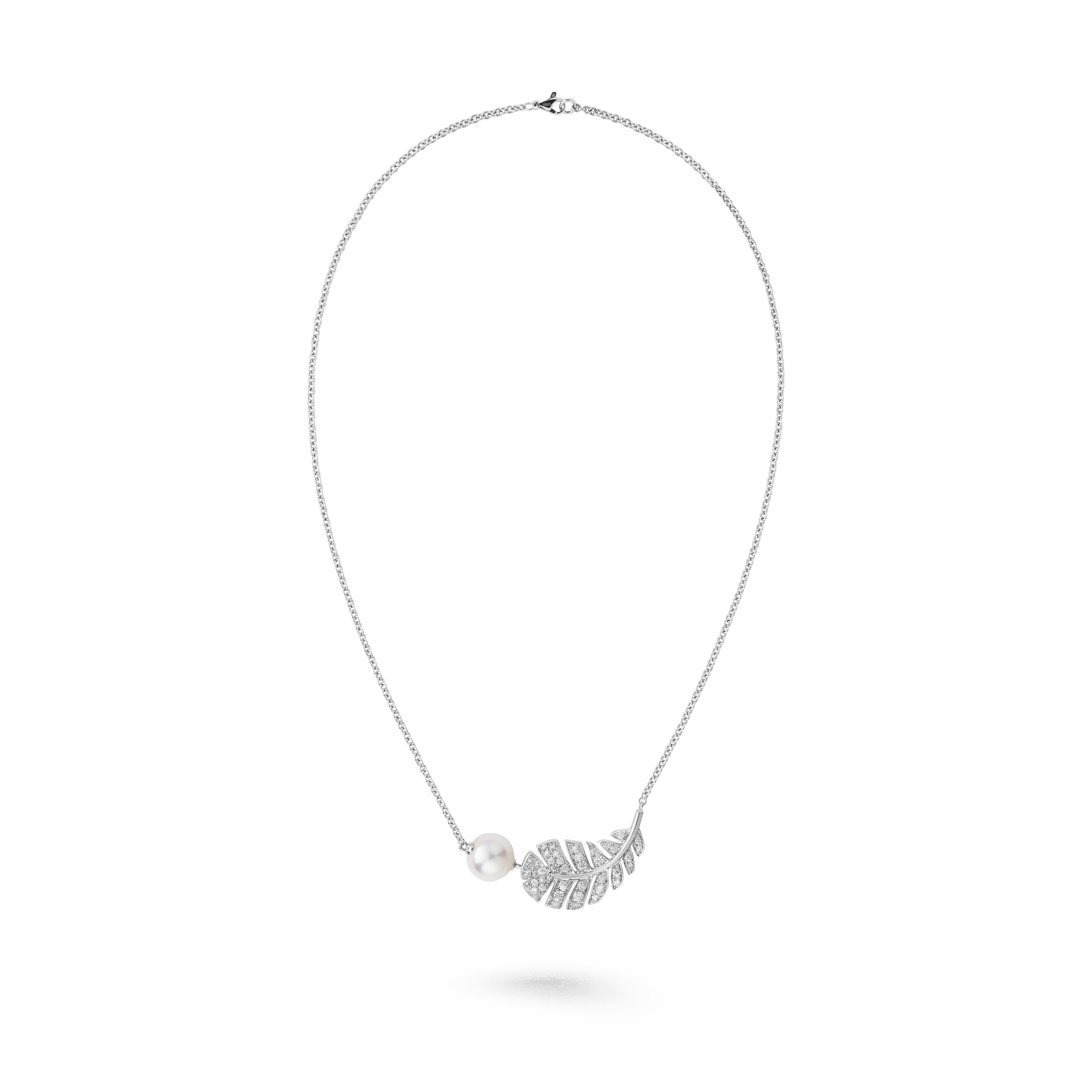 Plume de CHANEL necklace - 18K white gold, diamonds, cultured pearl - CHANEL - Default view - see standard sized version