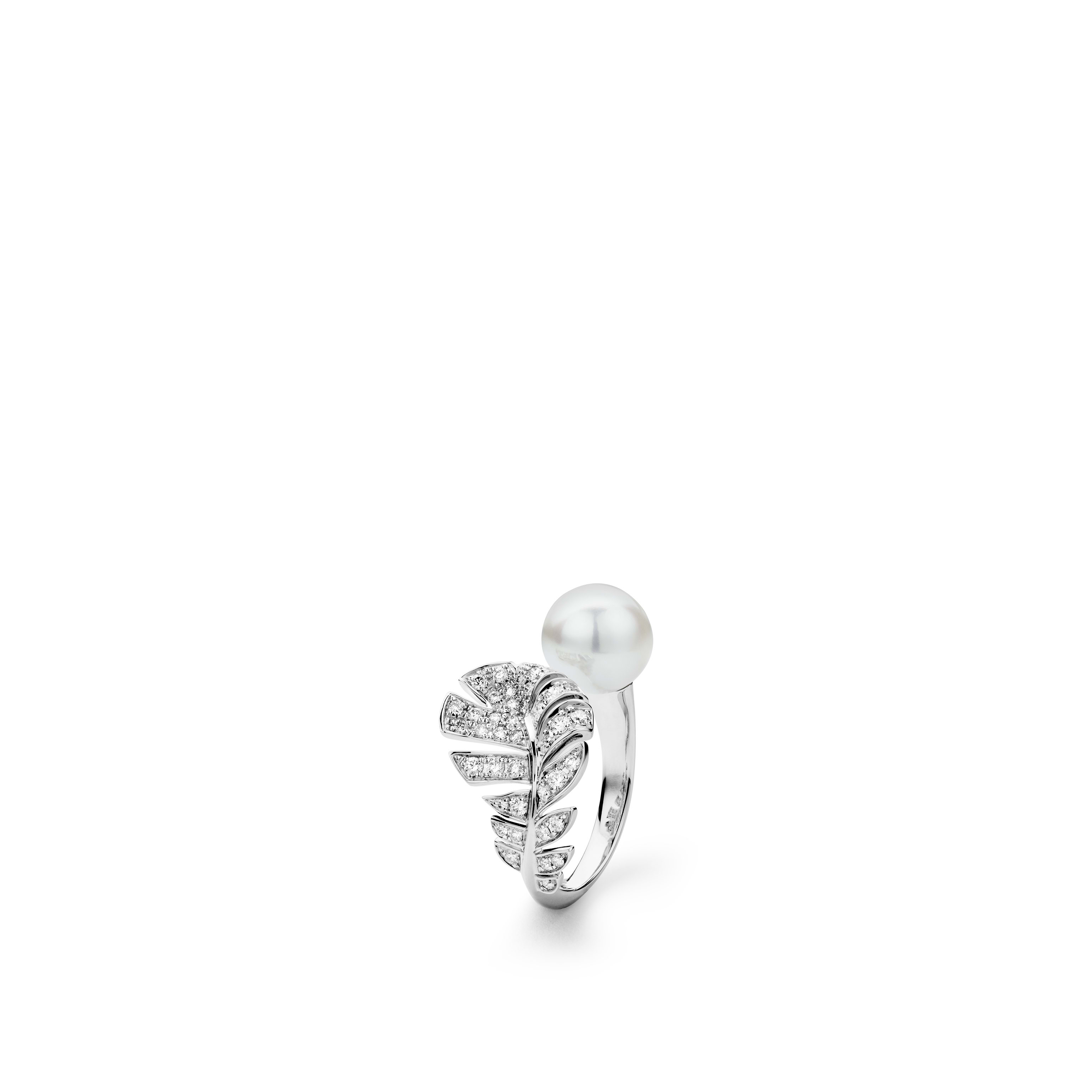 Plume de CHANEL ring - 18K white gold, diamonds, cultured pearl - CHANEL - Default view - see standard sized version
