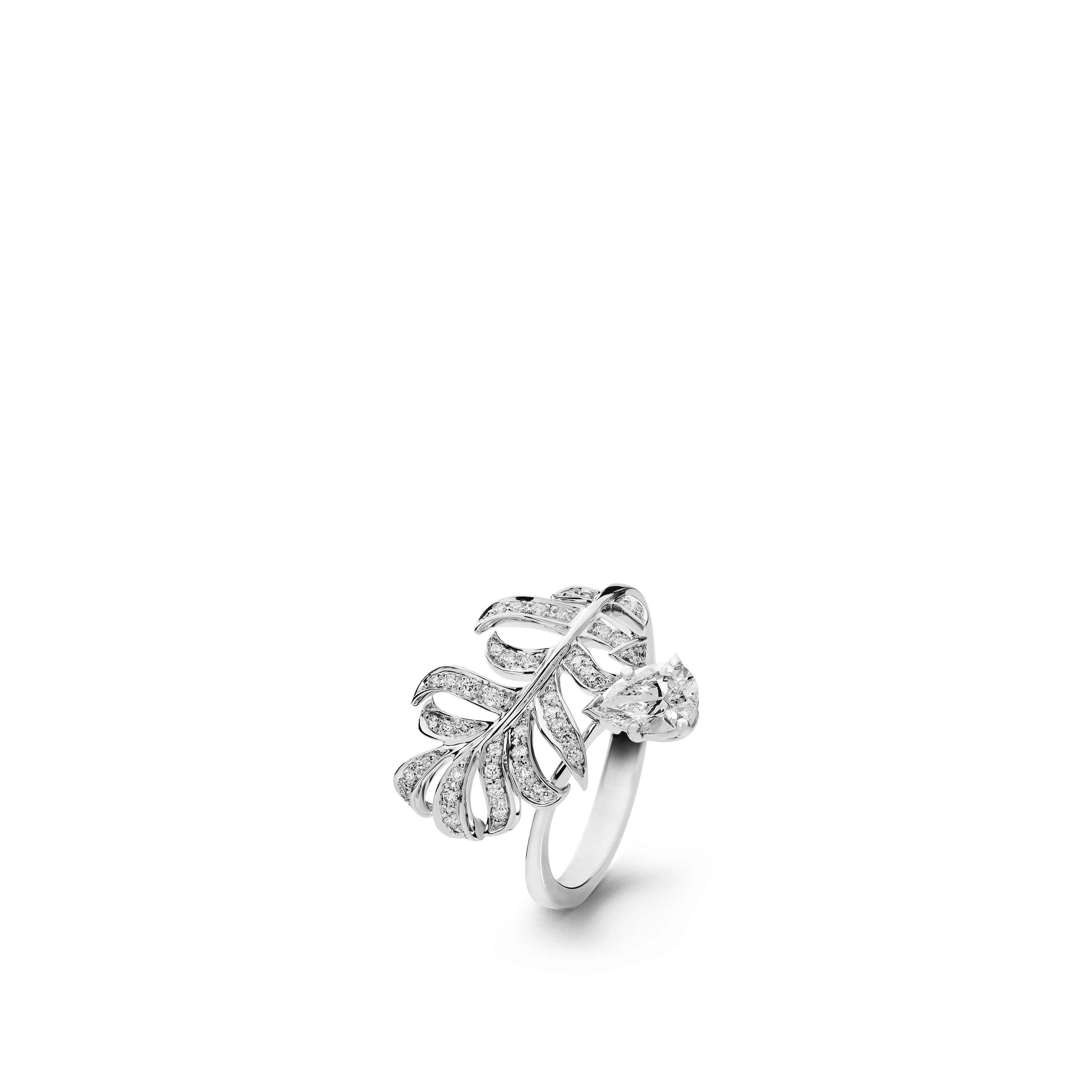 Plume de CHANEL ring - 18K white gold, diamonds - CHANEL - Default view - see standard sized version