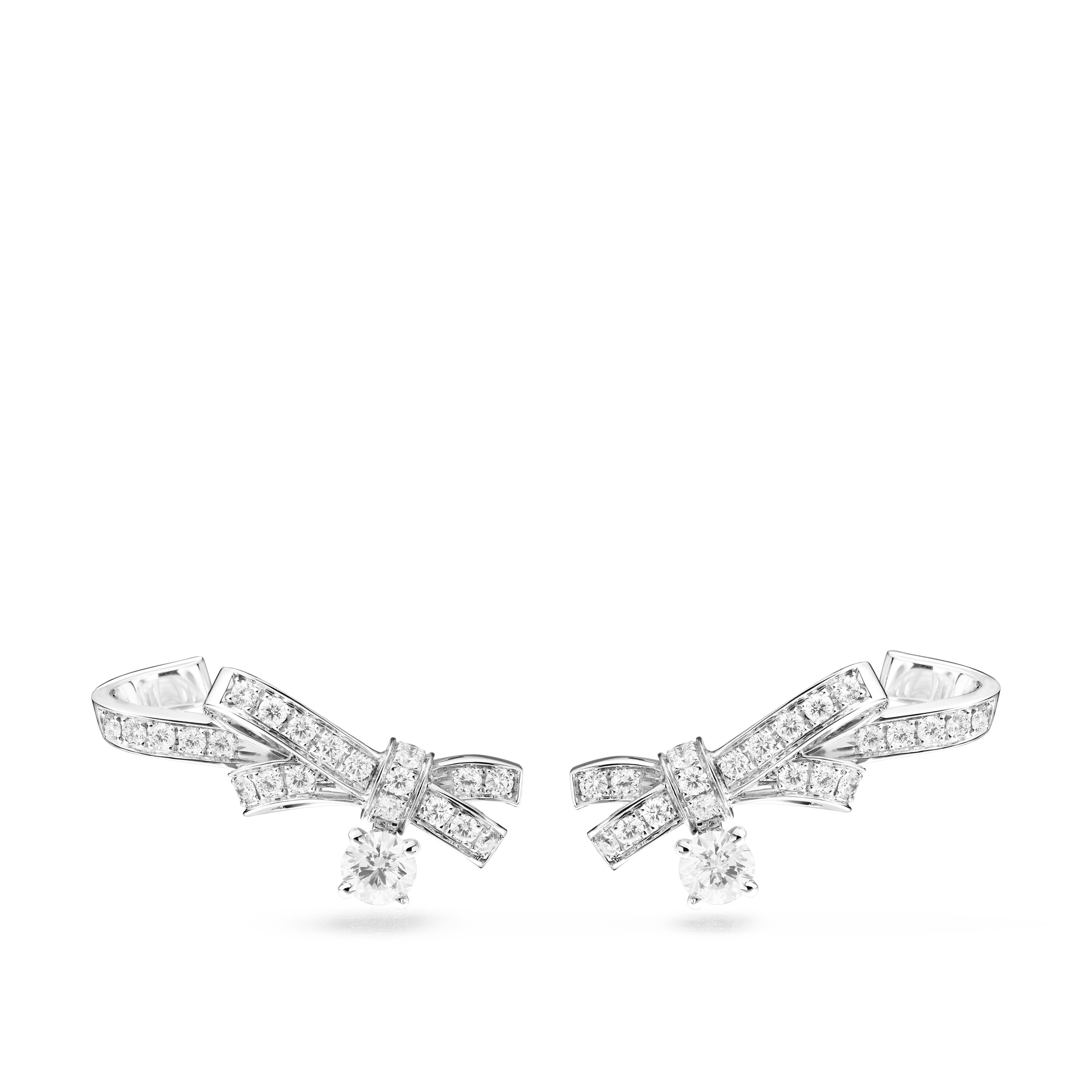 Ruban earrings - Ribbon motif in 18K white gold and diamonds with central diamonds - Default view - see standard sized version