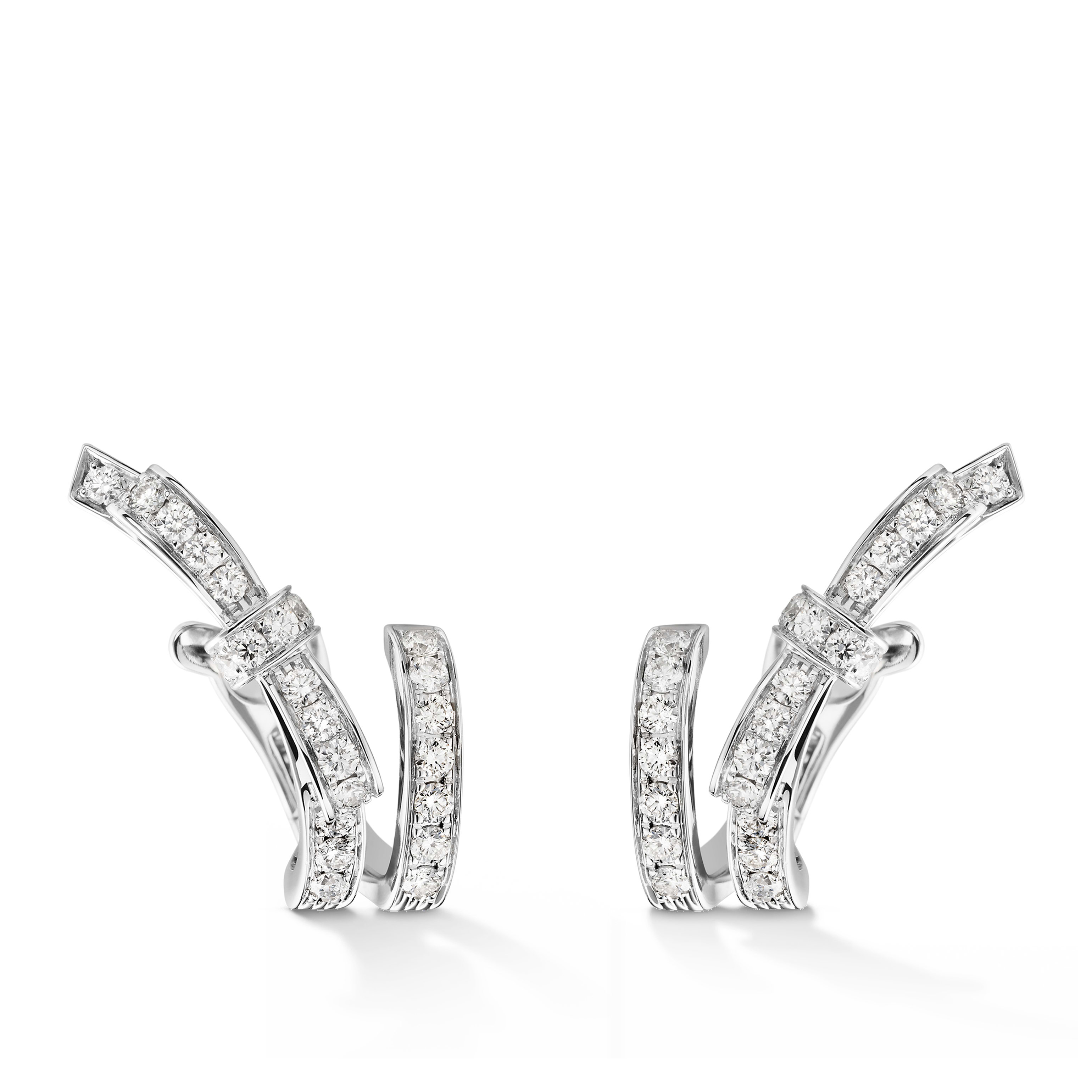 Ruban earrings - 18K white gold, diamonds - CHANEL - Default view - see standard sized version