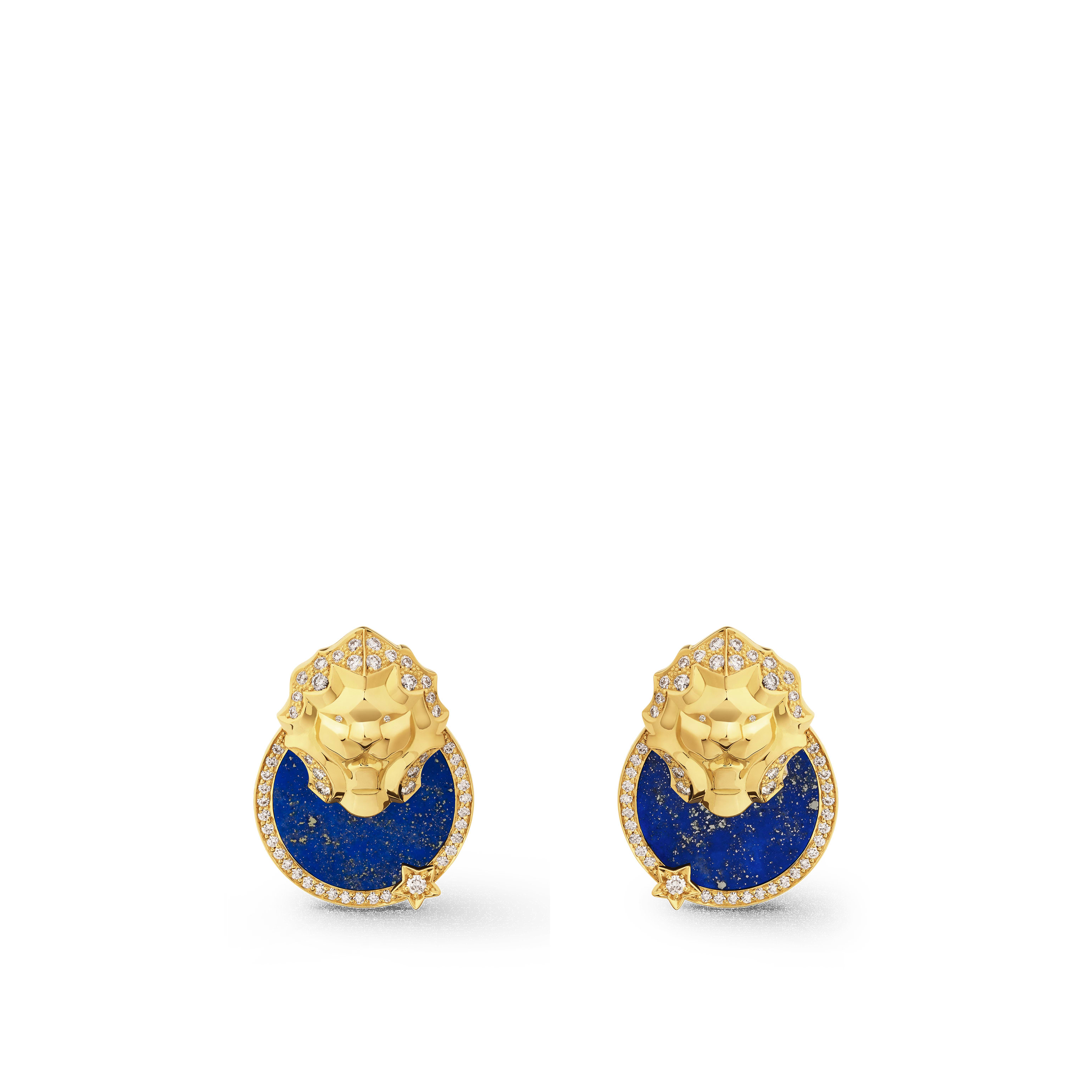 Sous le Signe du Lion earrings - Lion Médaille earrings in 18K yellow gold, diamonds and lapis lazuli - Default view - see standard sized version