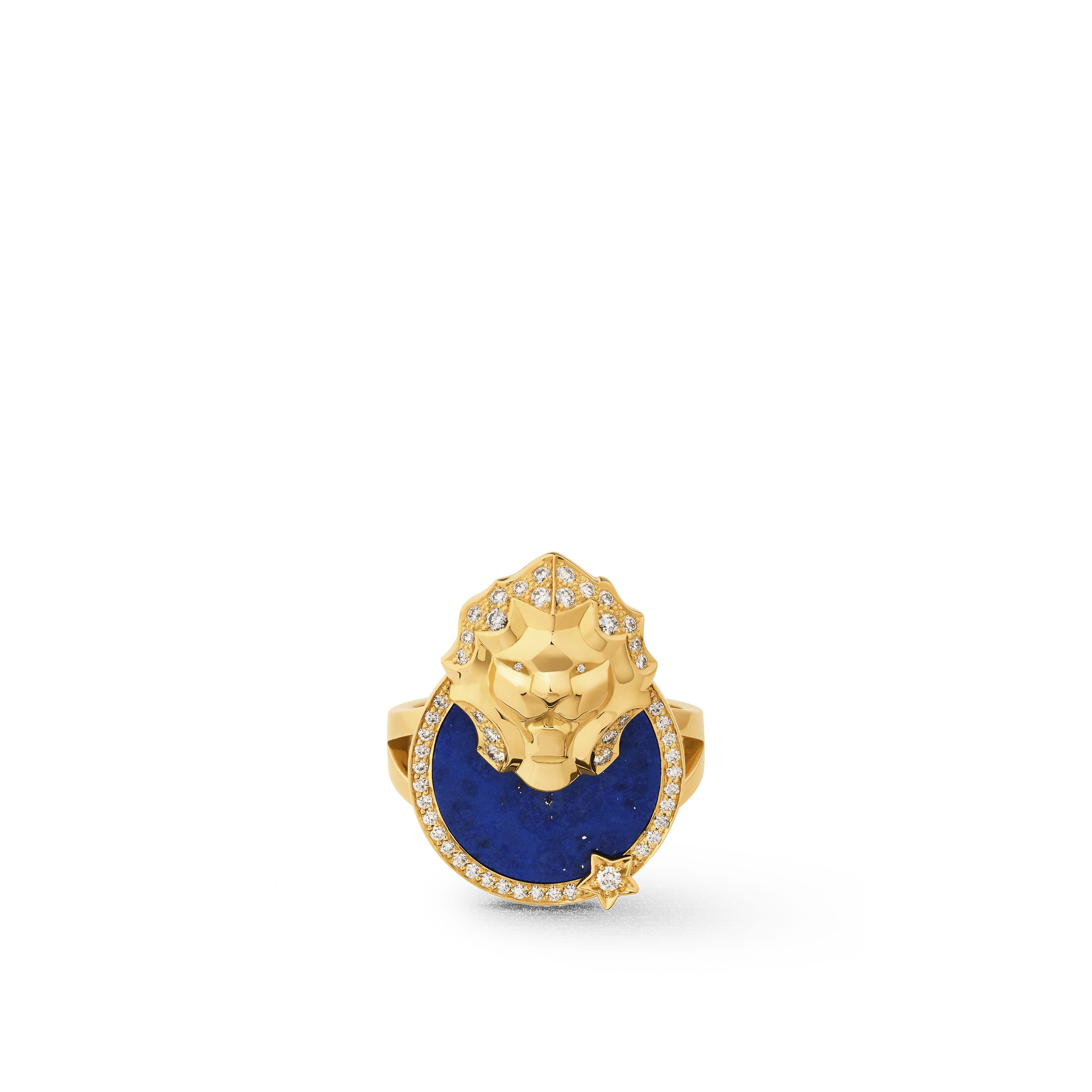Sous le Signe du Lion ring - Lion Médaille ring in 18K yellow gold, diamonds and lapis lazuli - Default view - see standard sized version