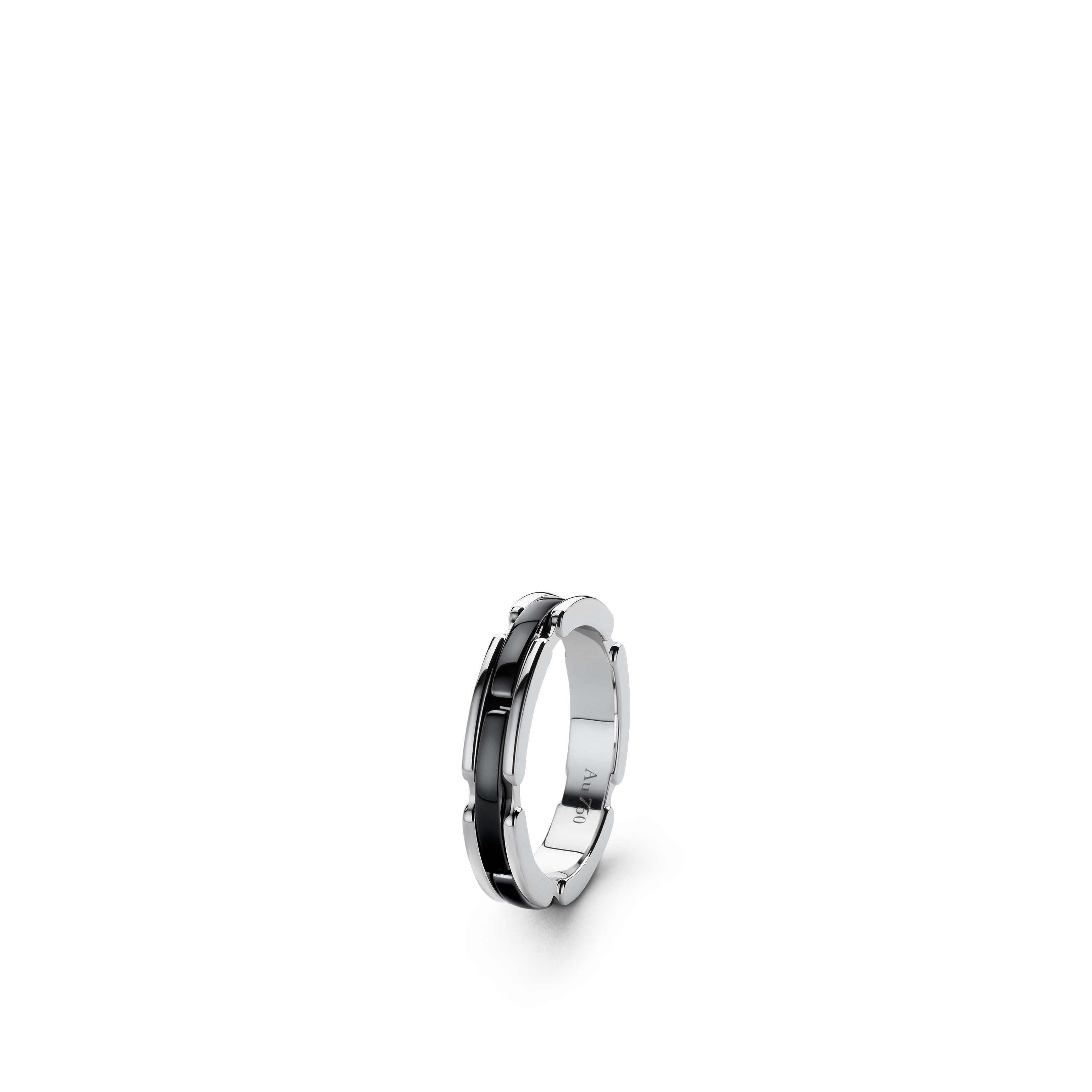 Ultra ring - Small version, 18K white gold, black ceramic - CHANEL - Default view - see standard sized version