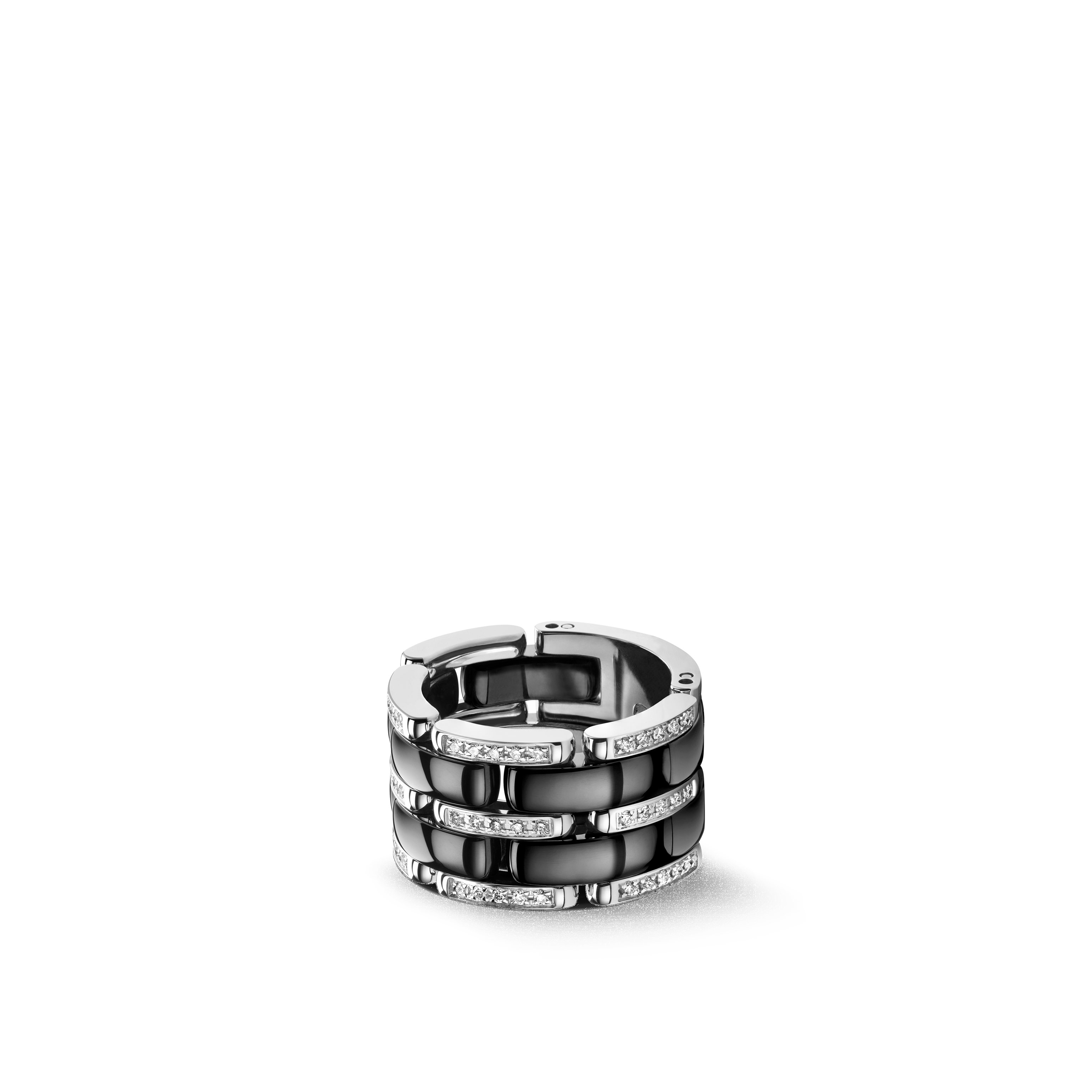 Ultra ring - Large version, 18K white gold, diamonds, black ceramic - CHANEL - Default view - see standard sized version
