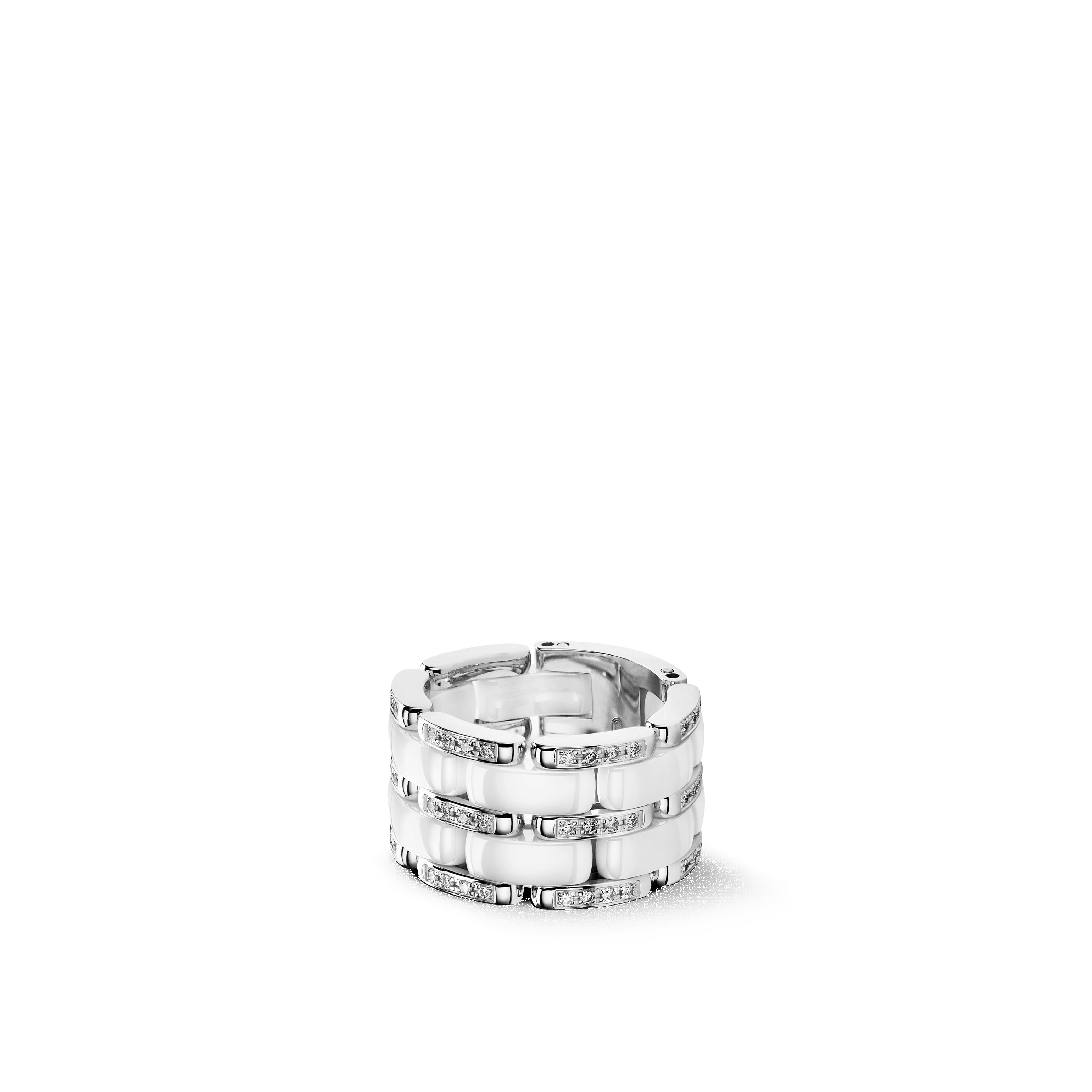 Ultra ring - Large version, 18K white gold, diamonds, white ceramic - CHANEL - Default view - see standard sized version