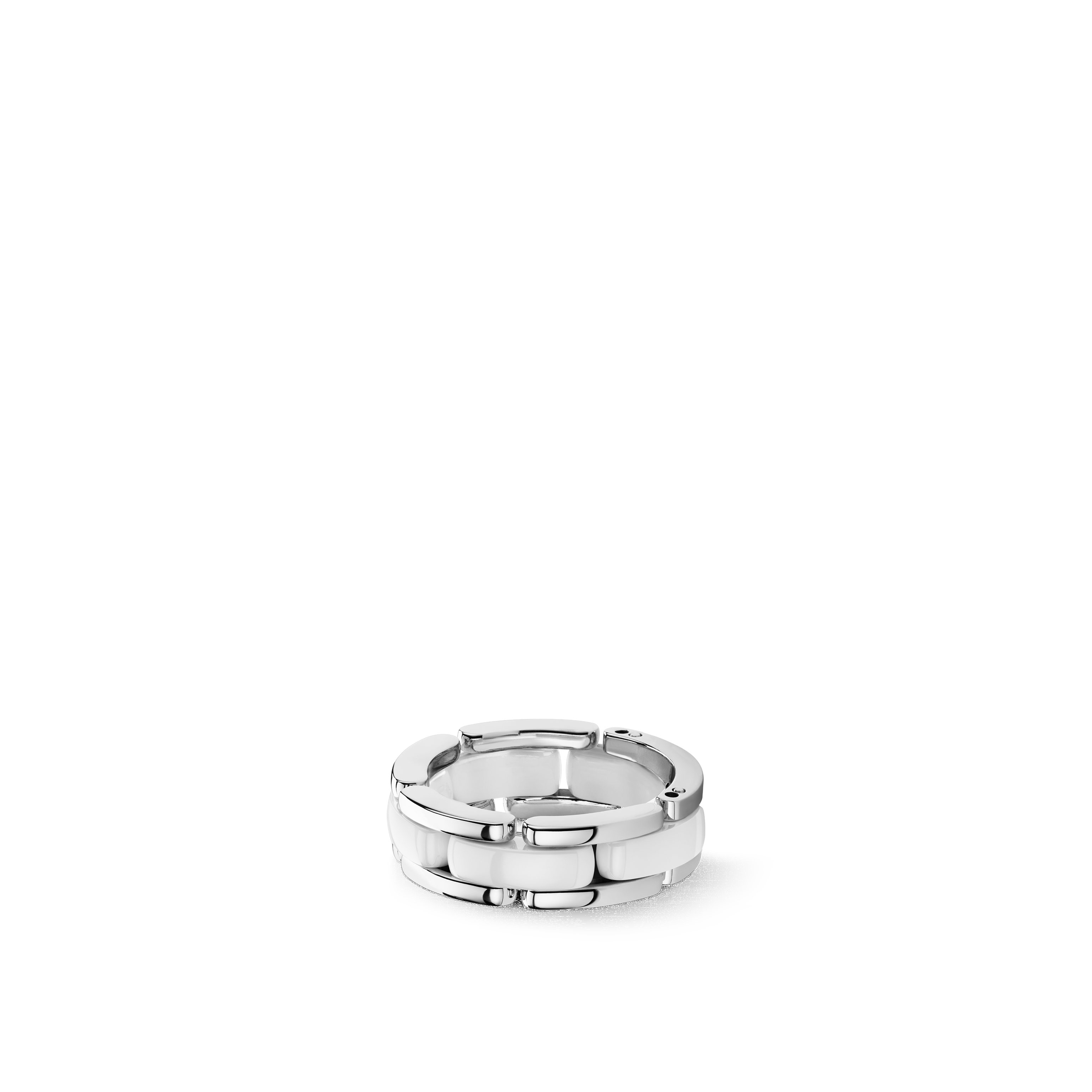 Ultra ring - Medium version, 18K white gold, white ceramic - CHANEL - Default view - see standard sized version