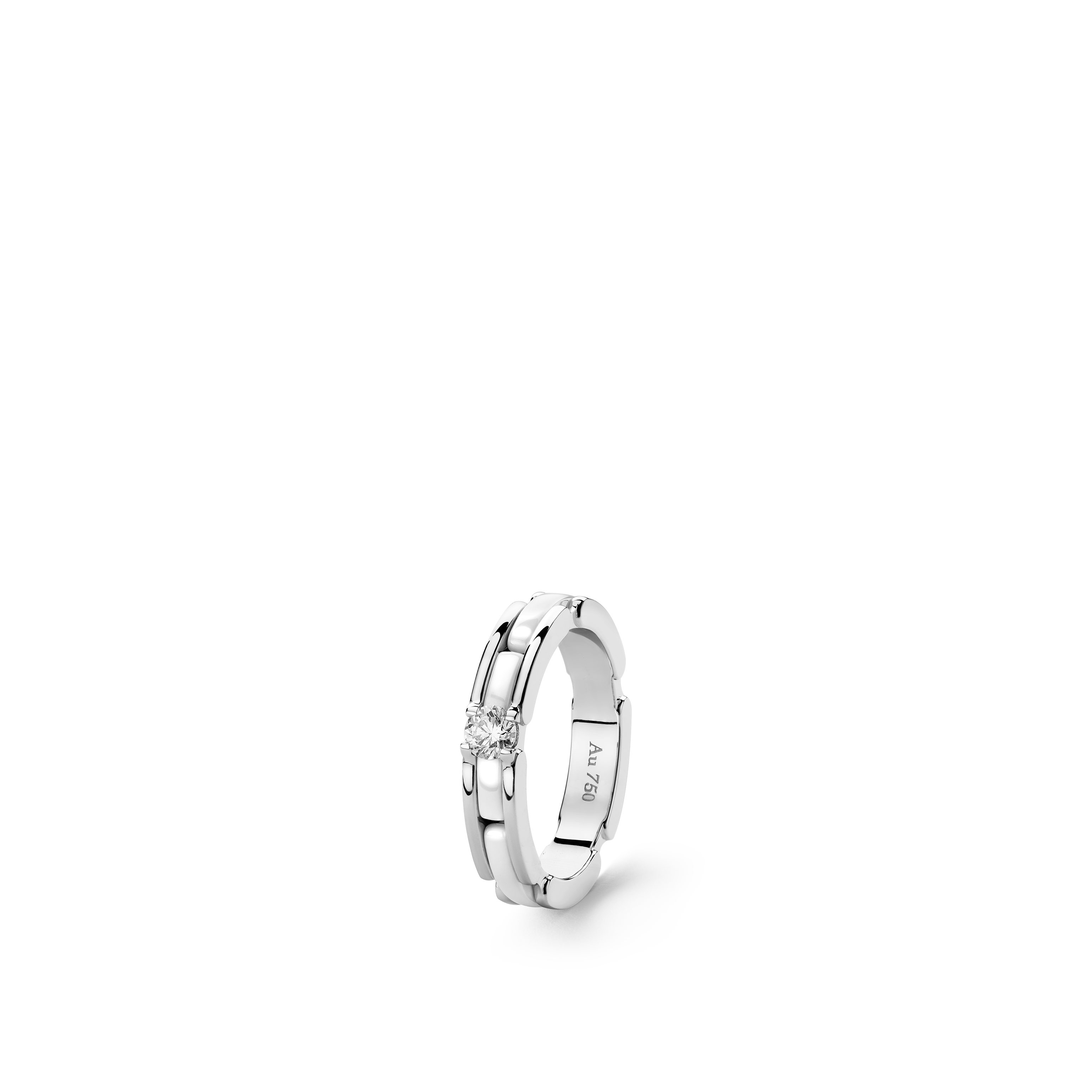 Ultra ring - Small version, 18K white gold, centre diamond, white ceramic - CHANEL - Default view - see standard sized version