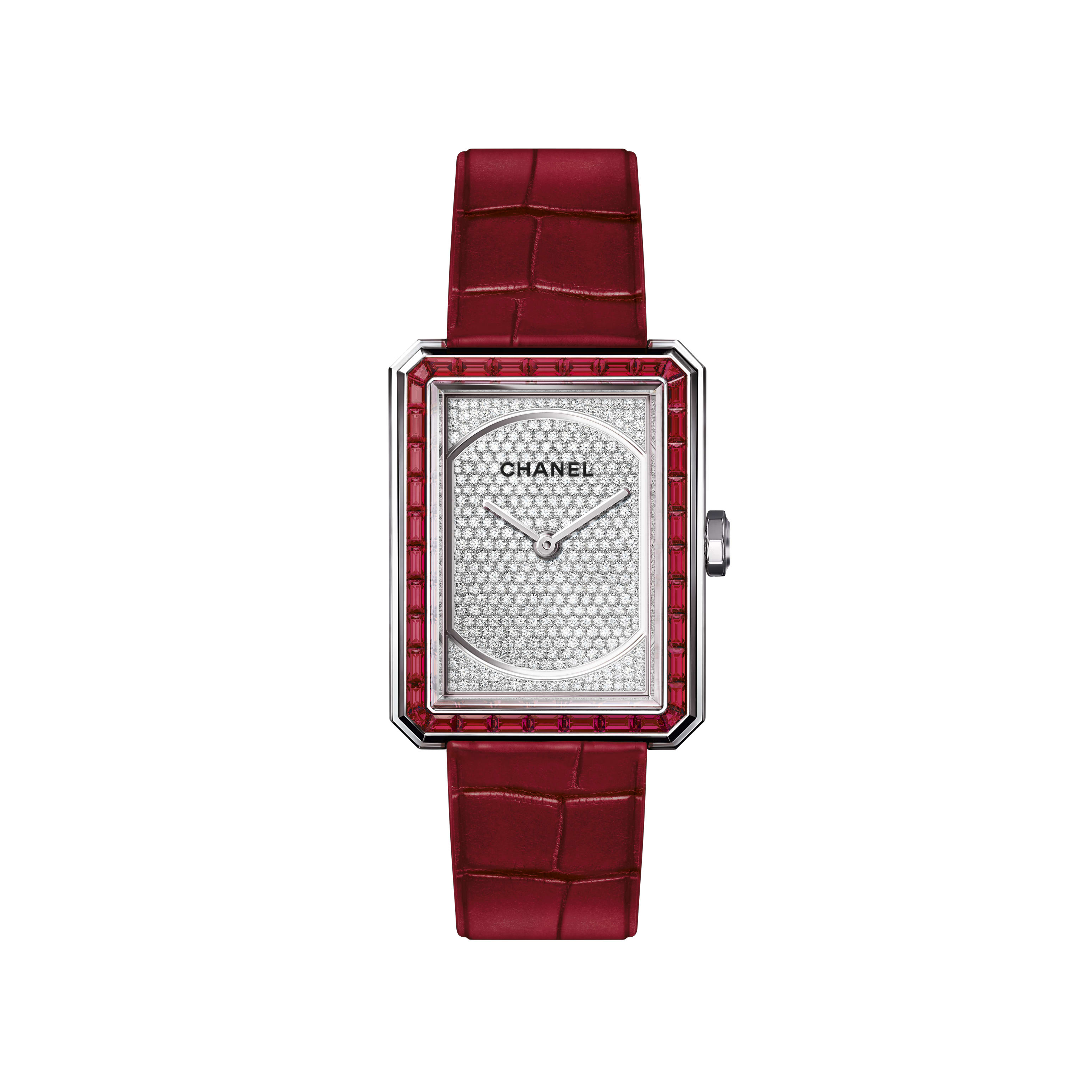 BOY·FRIEND RUBIES Watch - Medium version, white gold set with rubies and alligator strap - CHANEL - Default view - see standard sized version