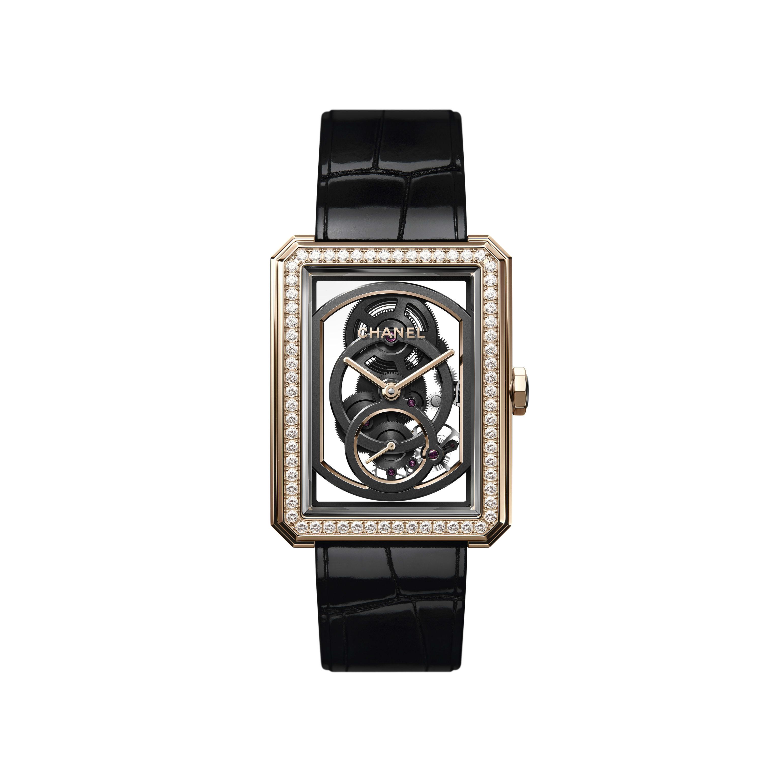 BOY·FRIEND Skeleton Watch - Large version, BEIGE GOLD and diamonds, alligator pattern calfskin strap - CHANEL - Default view - see standard sized version