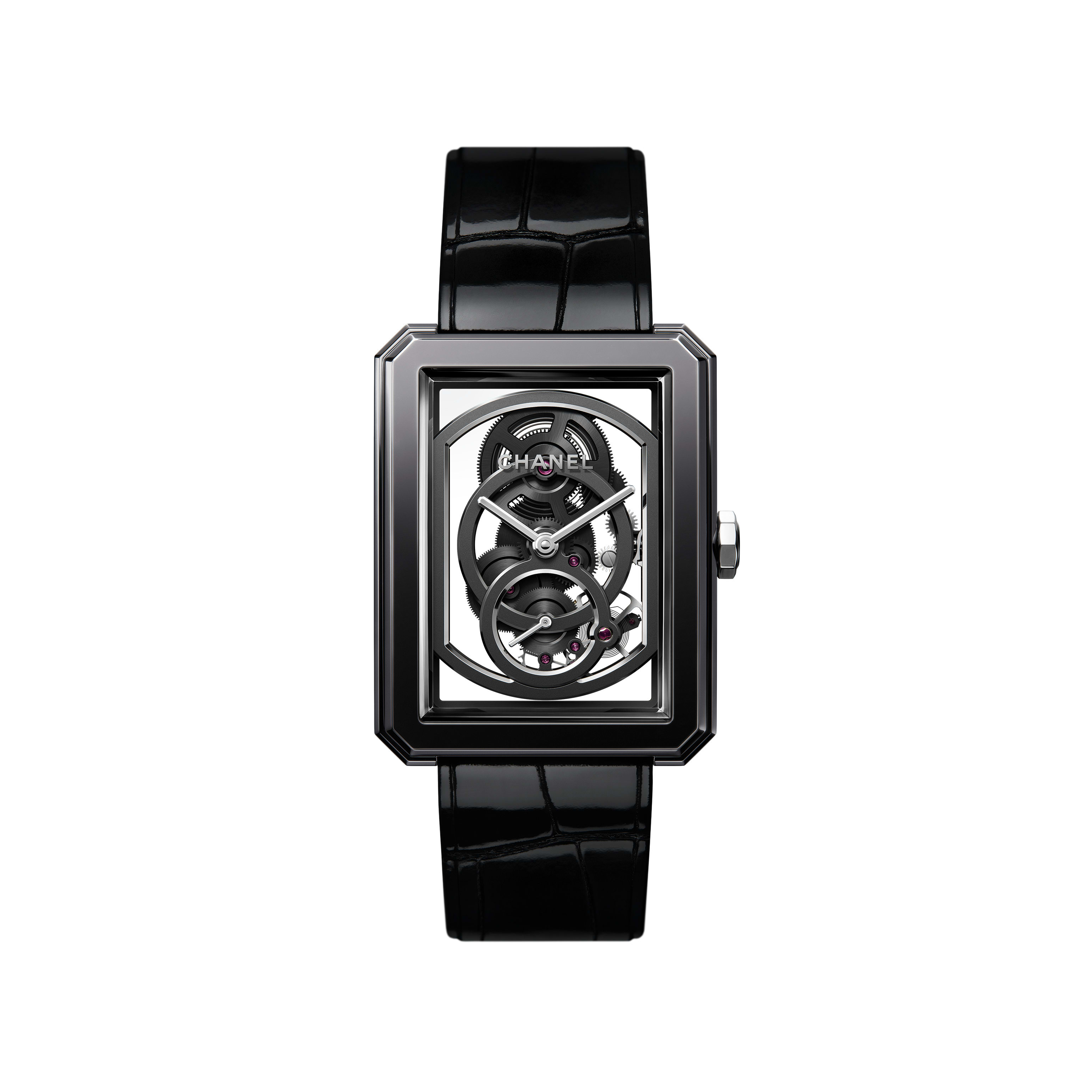 BOY·FRIEND Skeleton Watch - Black highly resistant ceramic, steel and shiny alligator pattern calfskin strap. Large Version. - CHANEL - Default view - see standard sized version