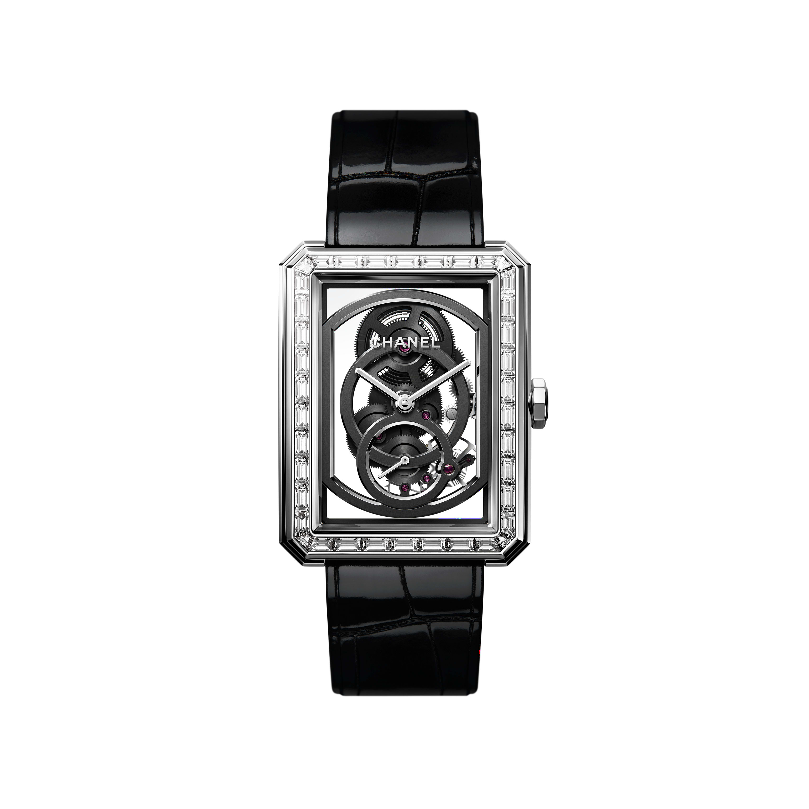 BOY·FRIEND Skeleton Watch - 18K white gold set with diamonds and shiny black alligator pattern calfskin strap. Large version. - CHANEL - Default view - see standard sized version
