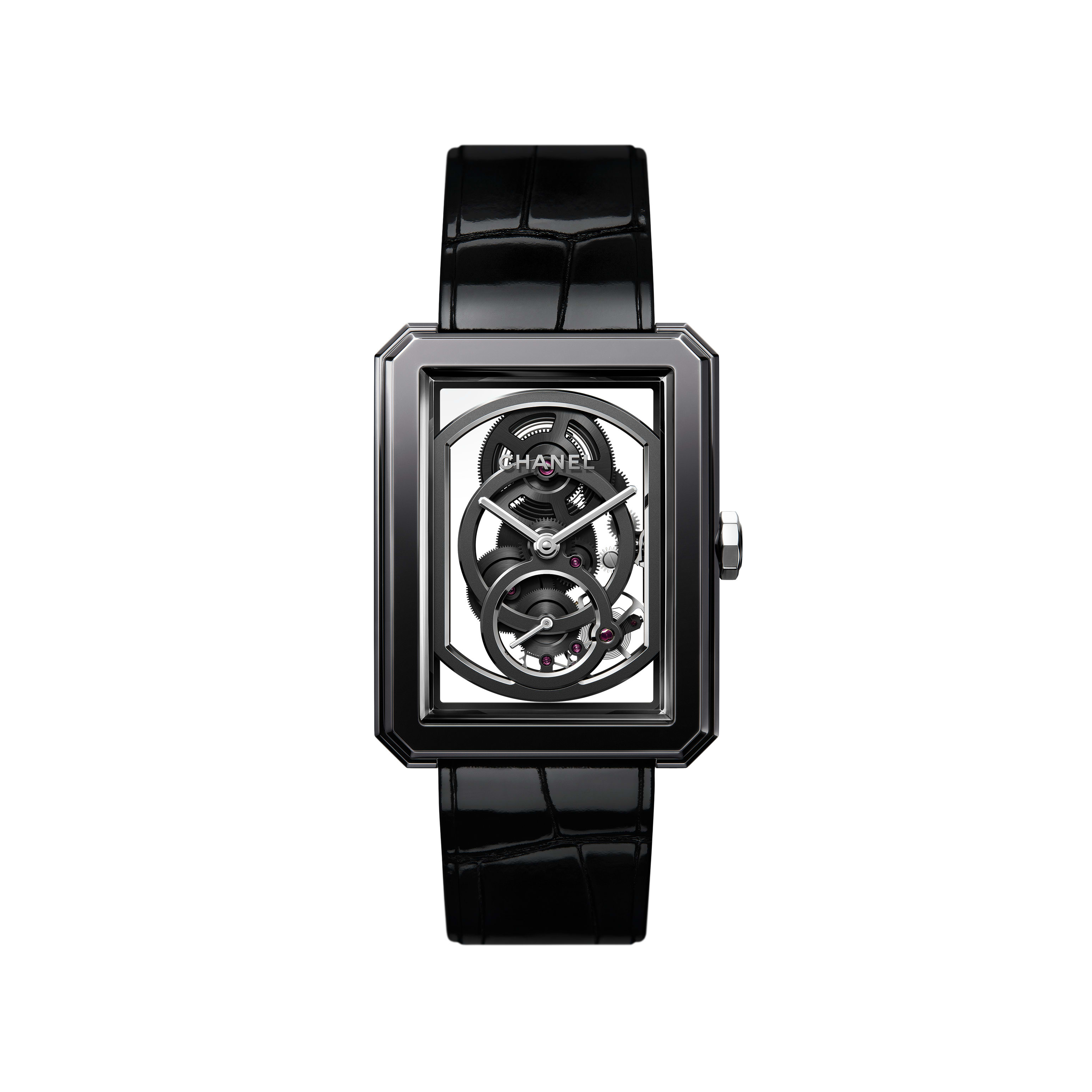 BOY·FRIEND Skeleton Watch - Black highly resistant ceramic, steel and shiny alligator strap. Large Version. - CHANEL - Default view - see standard sized version