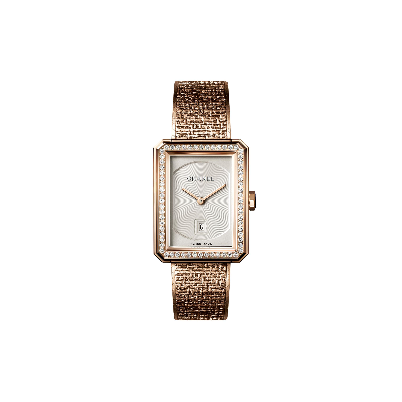 BOY·FRIEND TWEED Watch - Medium version, BEIGE GOLD and diamonds - CHANEL - Default view - see standard sized version