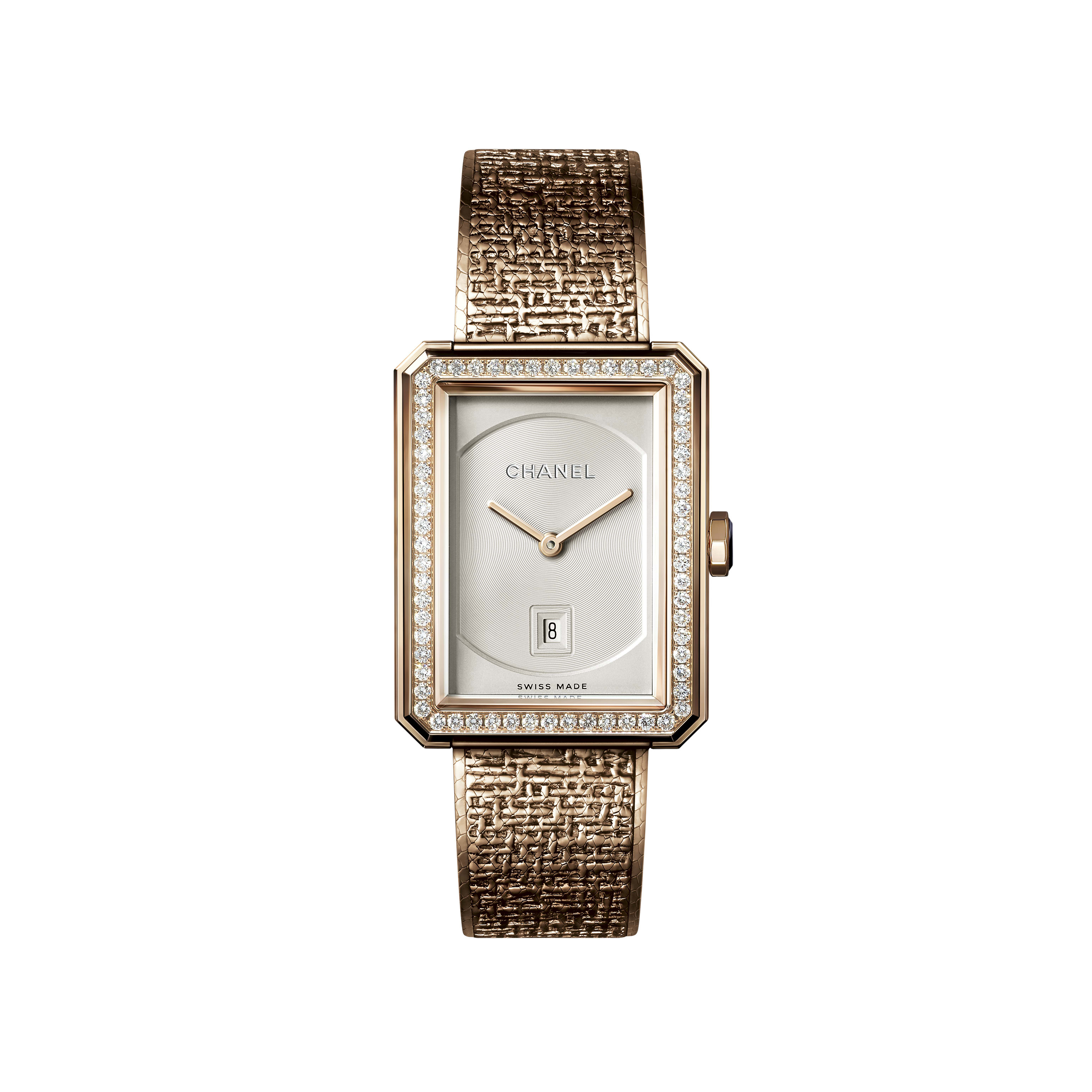 BOY·FRIEND TWEED Watch - Medium version, BEIGE GOLD set with diamonds - CHANEL - Default view - see standard sized version