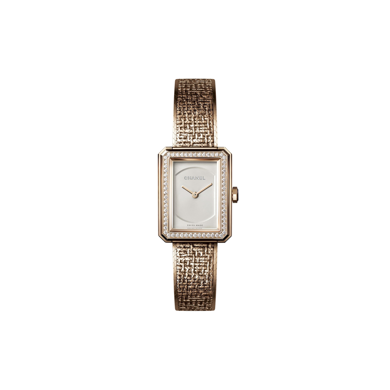 BOY·FRIEND TWEED腕錶 - 小型款,BEIGE米色金,鑲嵌鑽石 - CHANEL - 預設視圖 - 查看標準尺寸版本
