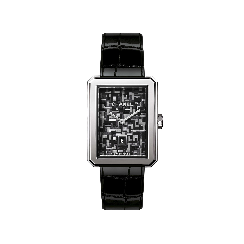 BOY·FRIEND TWEED watch - Medium version, steel and alligator pattern calfskin strap - CHANEL - Default view - see standard sized version
