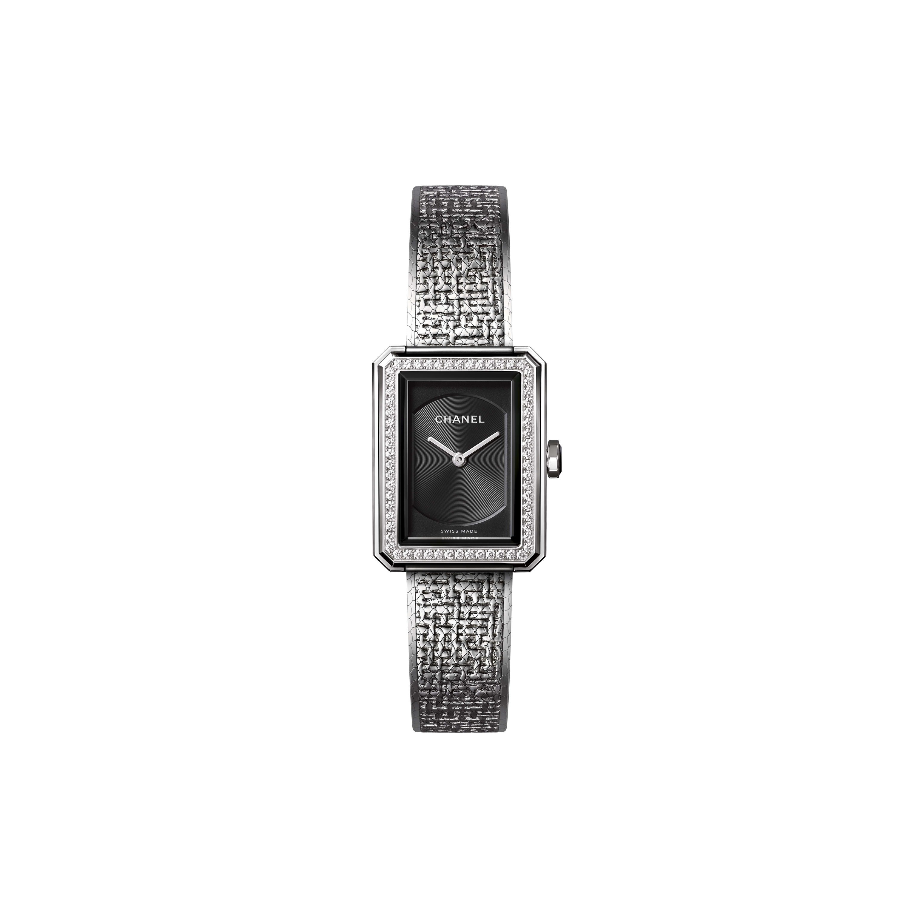 BOY·FRIEND TWEED Watch - Small version, steel and diamonds - CHANEL - Default view - see standard sized version