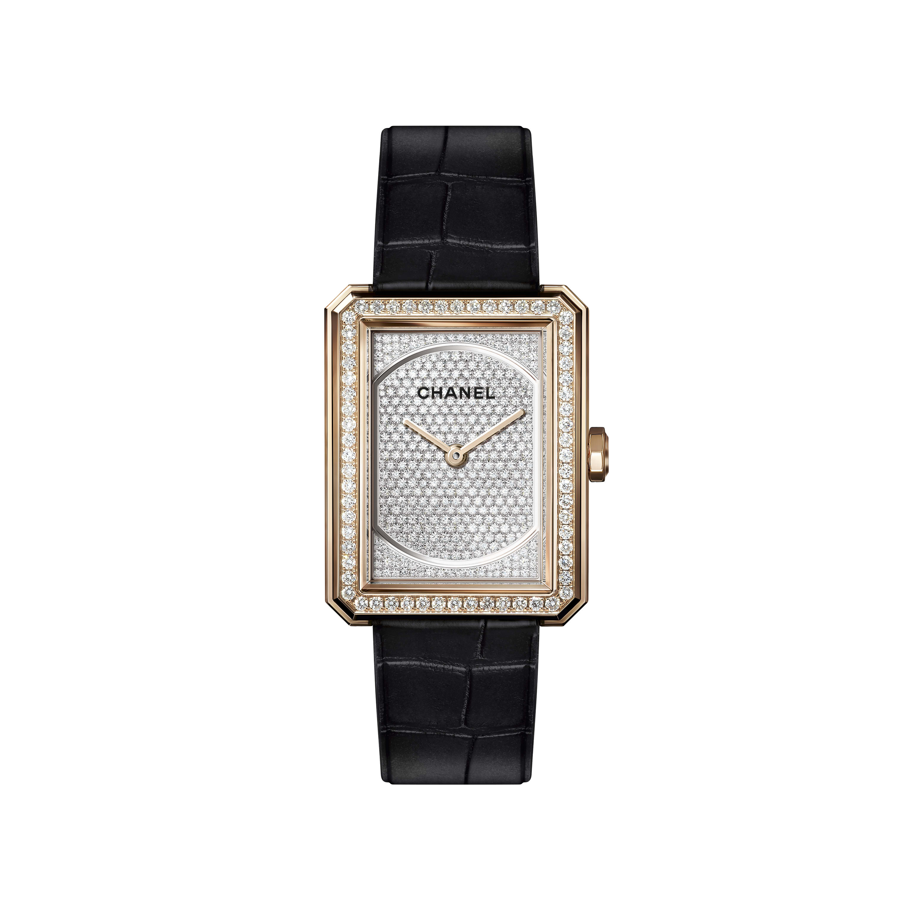 BOY∙FRIEND - Medium version, BEIGE GOLD and dial set with diamonds, alligator strap - Default view - see standard sized version